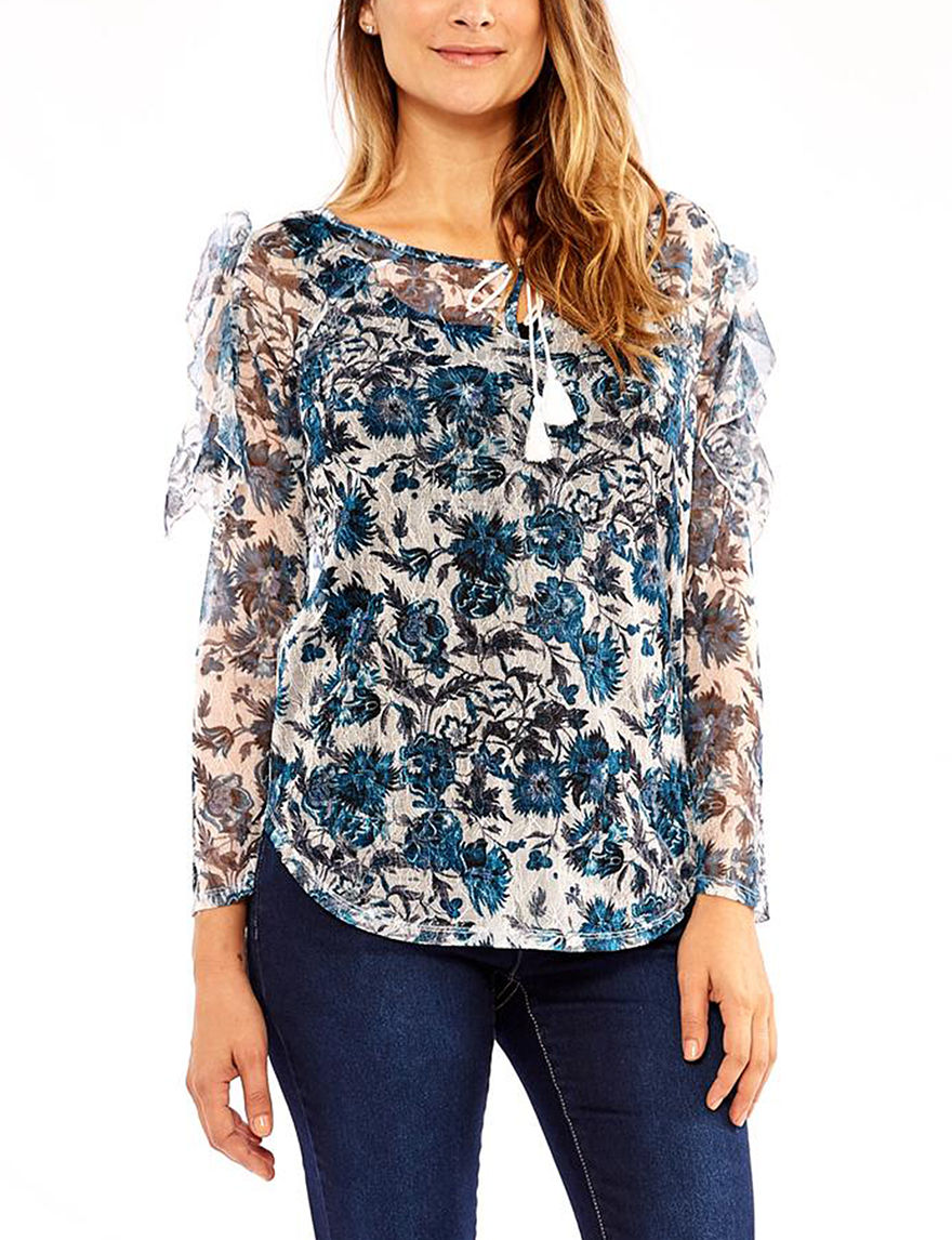 Skyes The Limit Blue Floral Shirts & Blouses