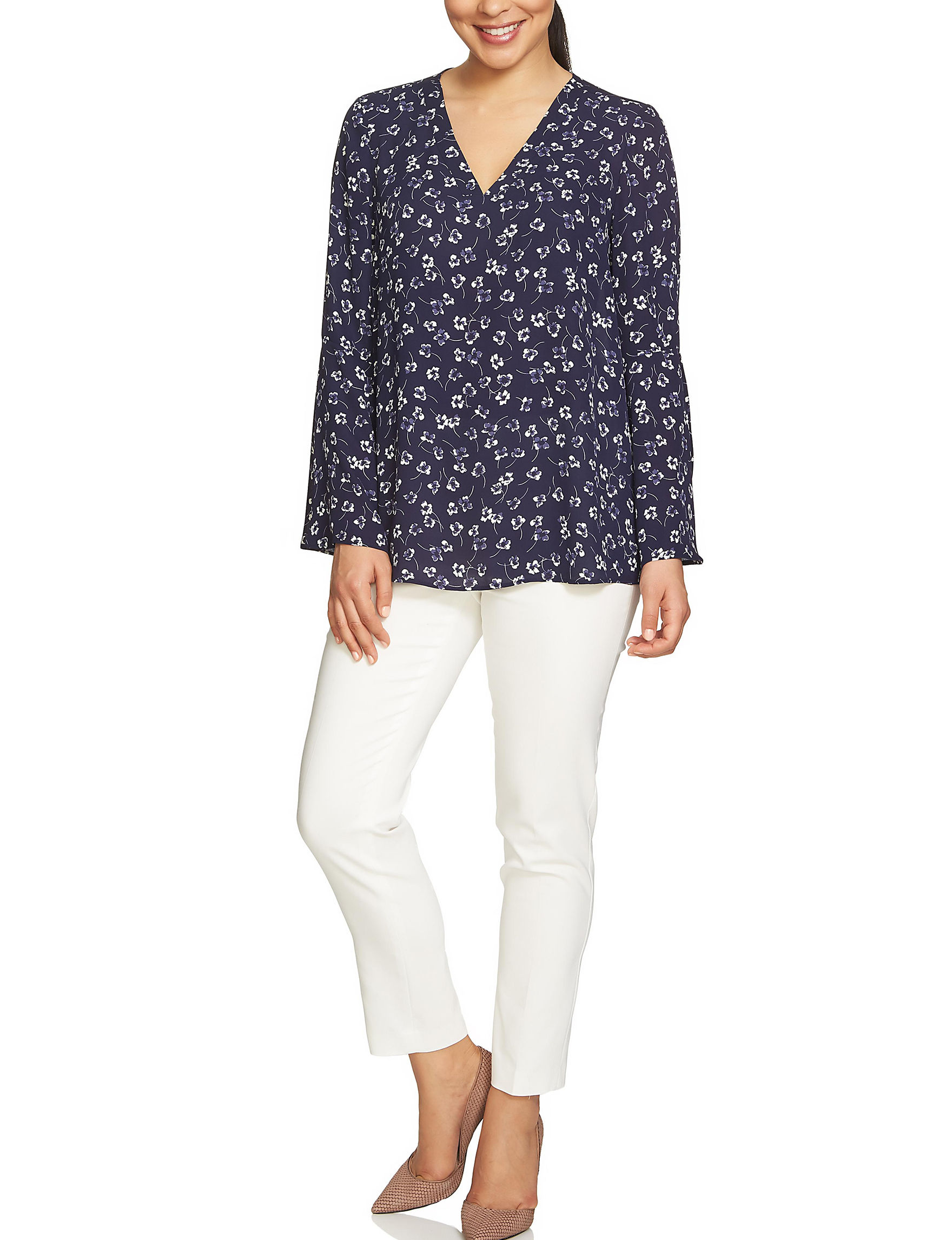 Chaus Navy Floral Shirts & Blouses