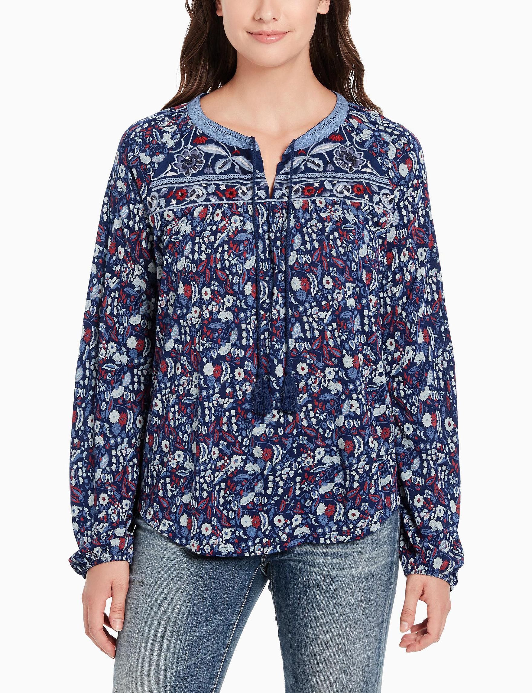Vintage America Blues Blue Floral Shirts & Blouses