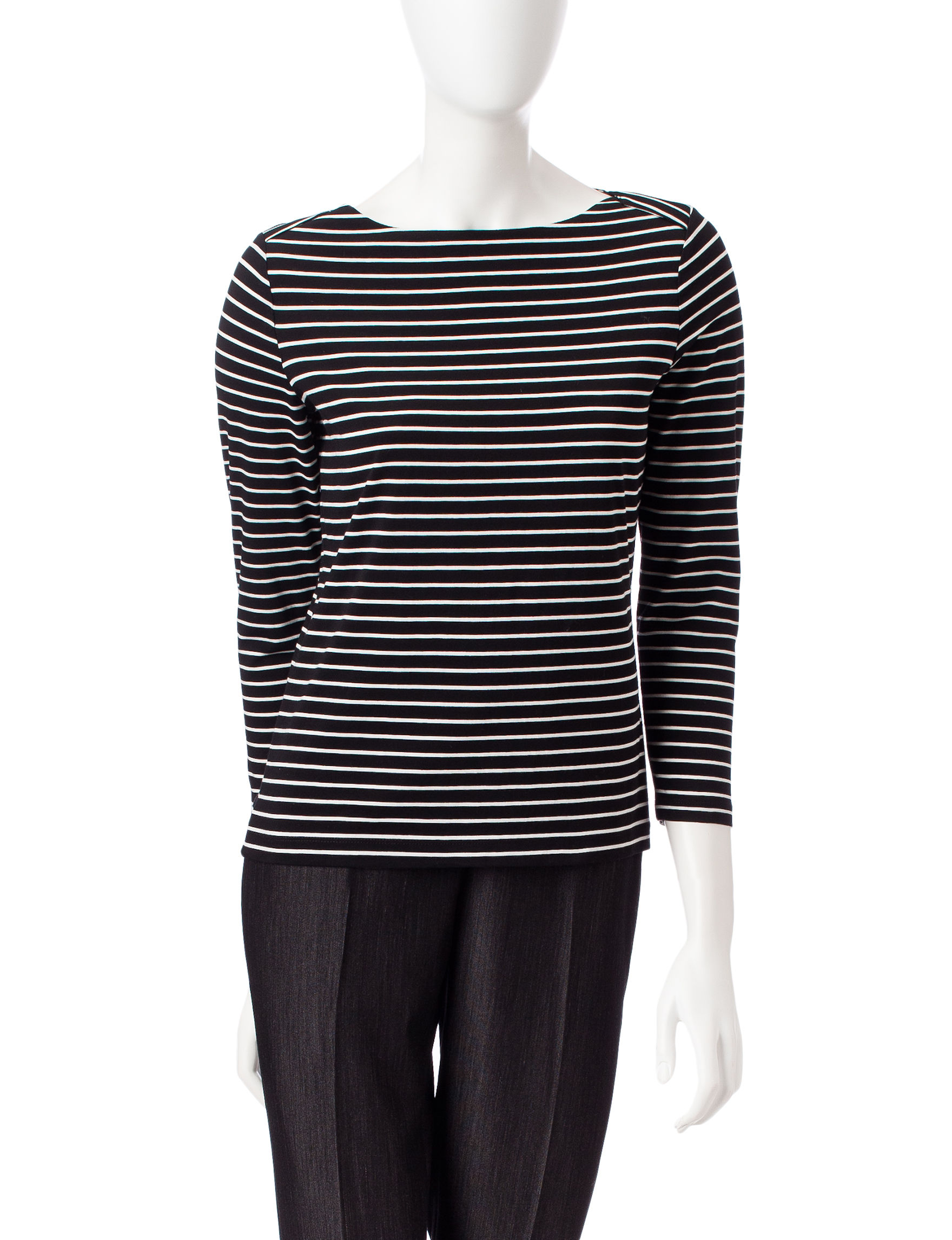 Anne Klein Black / White Pull-overs Shirts & Blouses