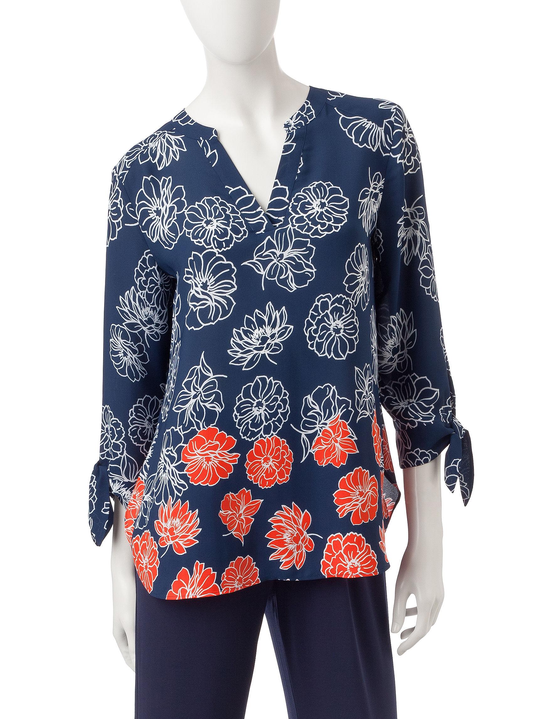 Valerie Stevens Navy / Coral Shirts & Blouses