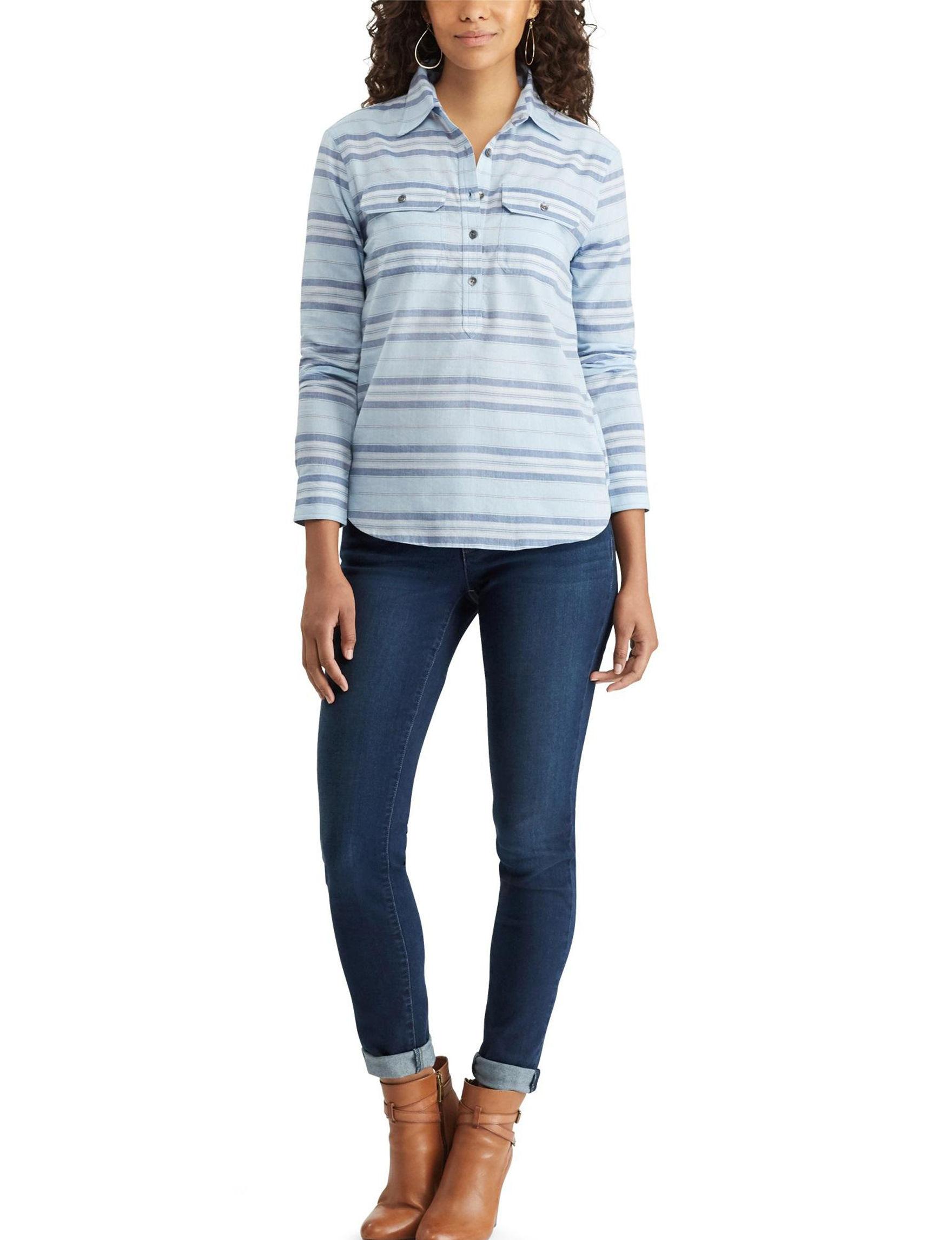 Chaps Blue Multi Shirts & Blouses