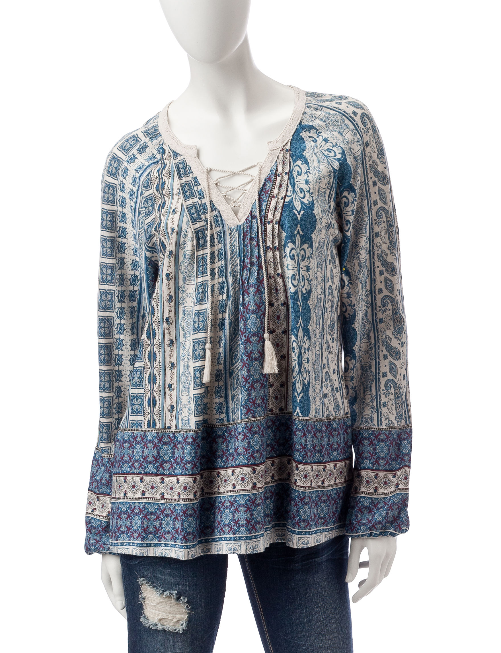 Vintage America Blues Blue Multi Shirts & Blouses