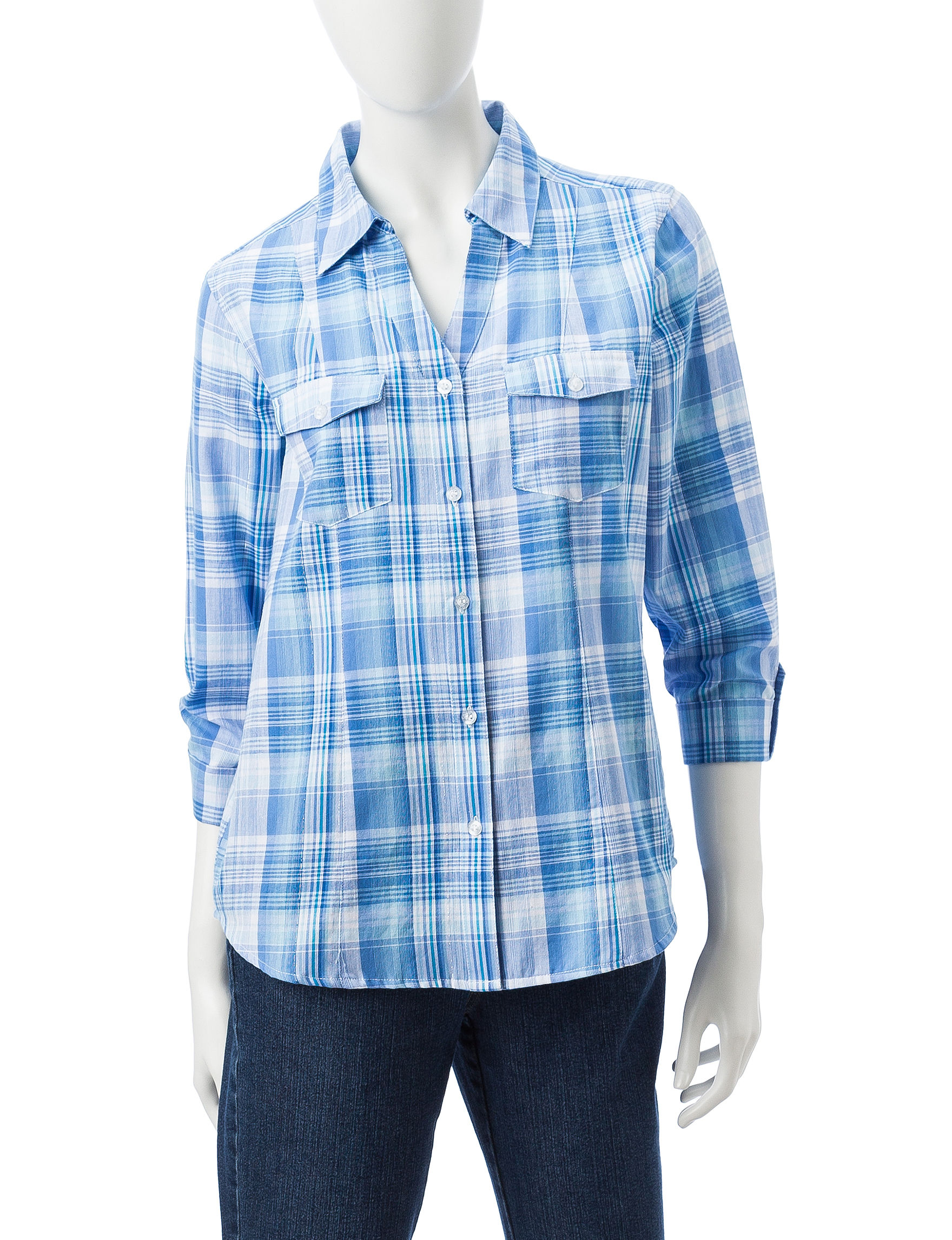 Cathy Daniels Blue Plaid Shirts & Blouses