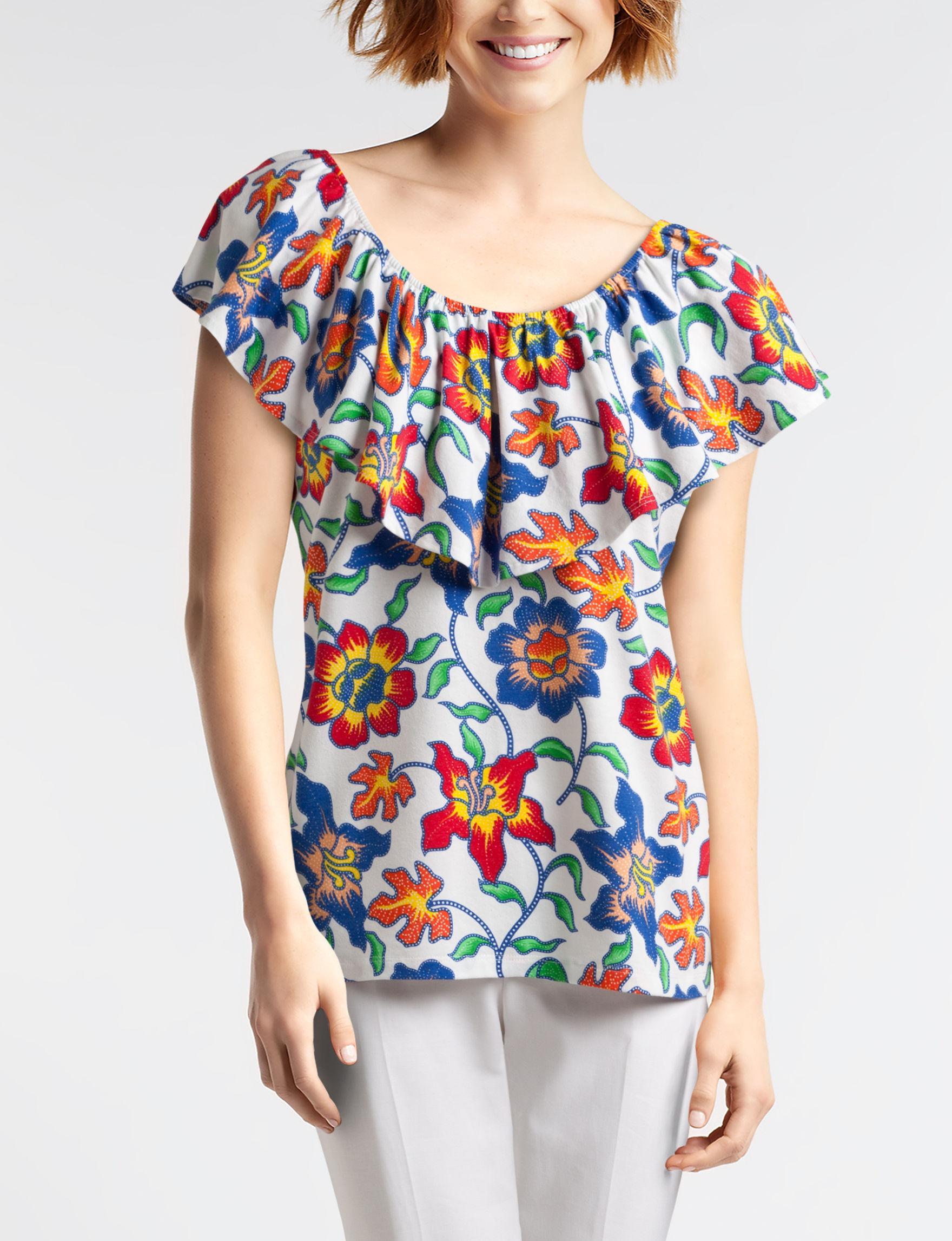 Rebecca Malone Orange Floral Shirts & Blouses