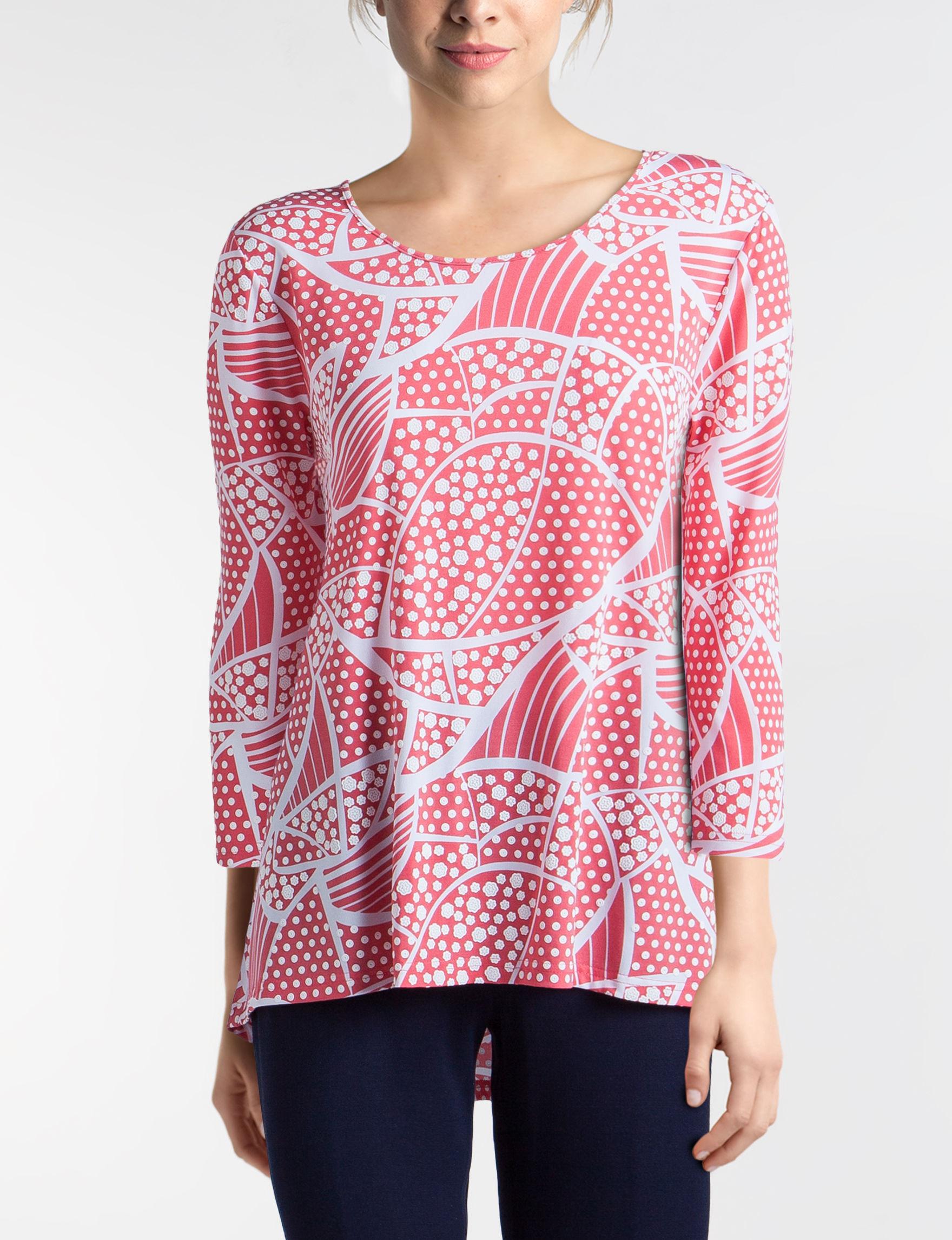 Valerie Stevens Coral / White Shirts & Blouses