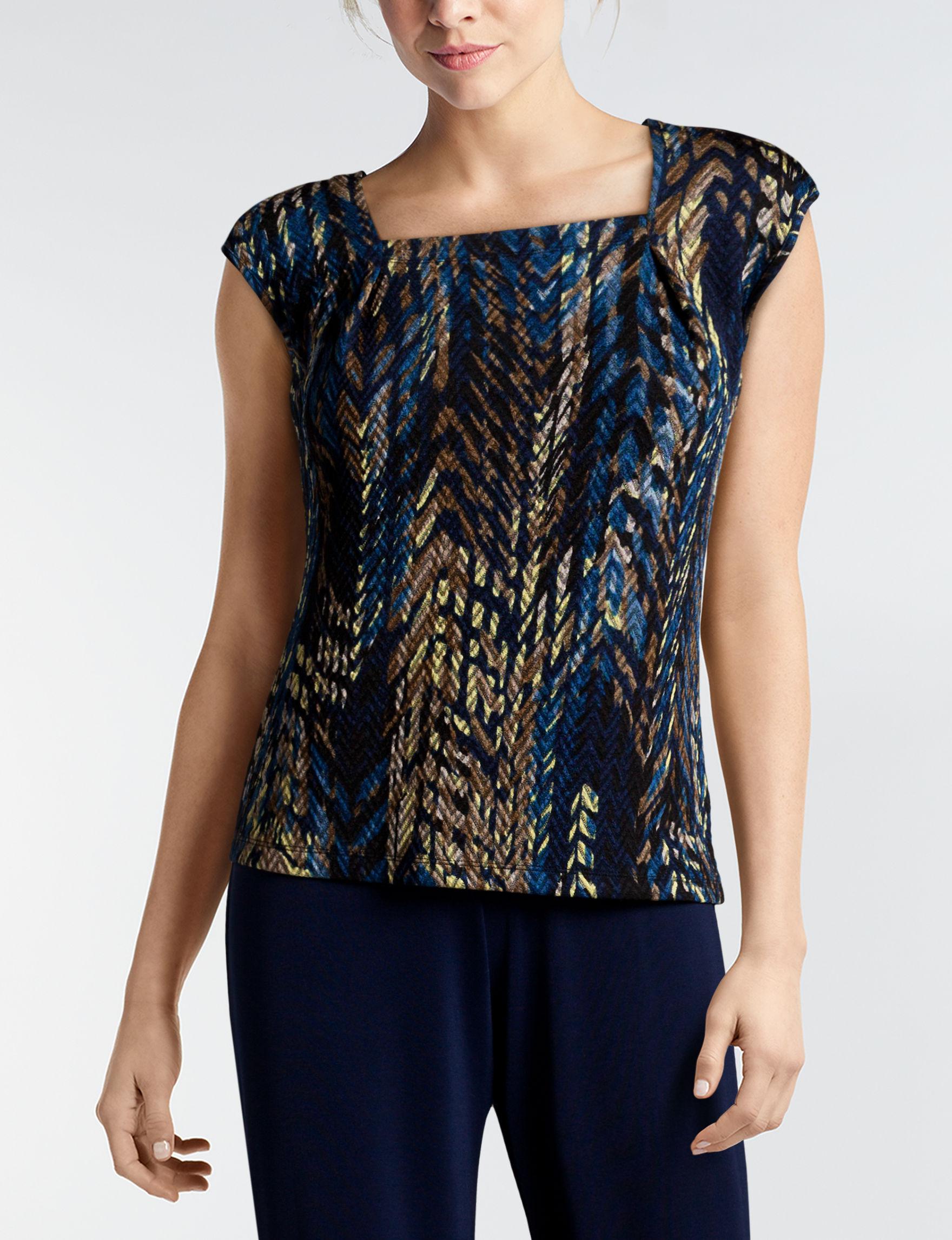 Kasper Blue / Multi Shirts & Blouses