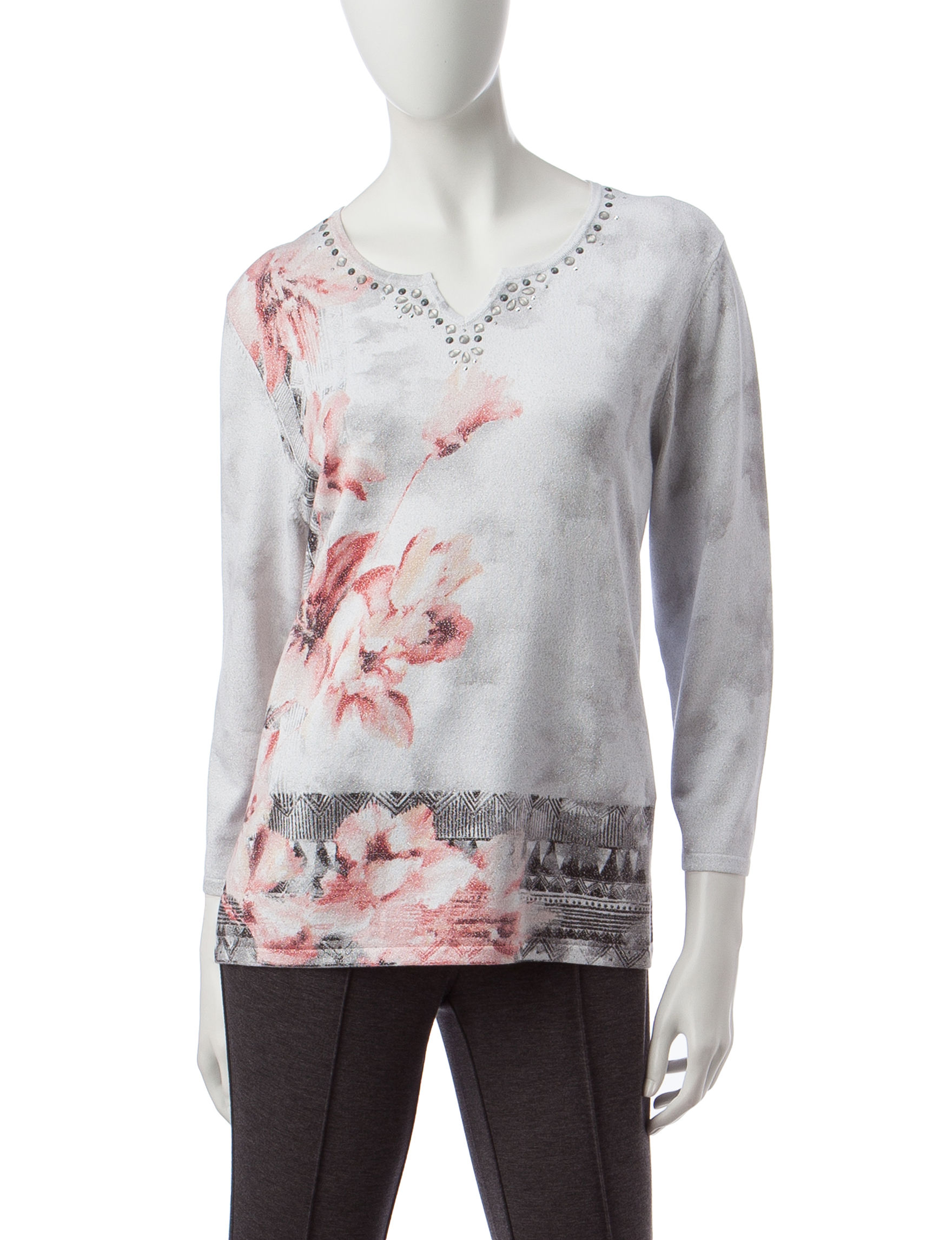 Alfred Dunner Grey Multi Pull-overs