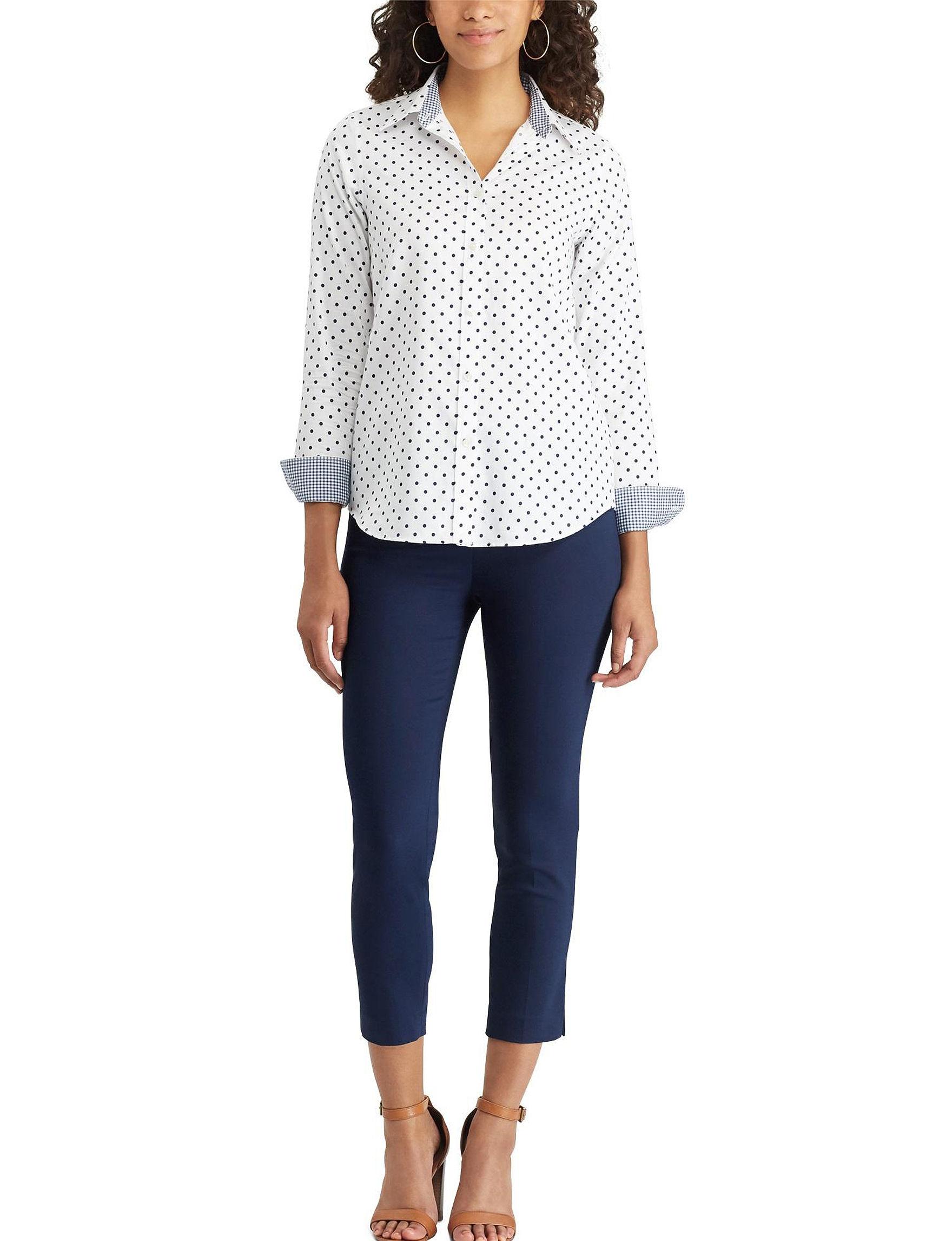 Chaps White / Blue Shirts & Blouses