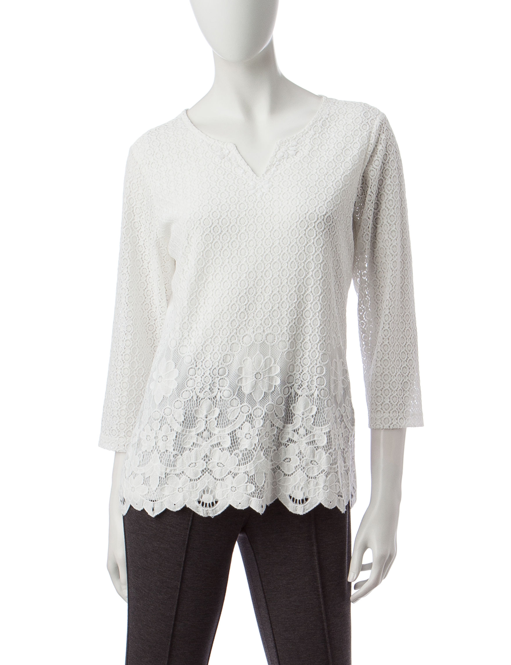 Alfred Dunner Ivory Shirts & Blouses