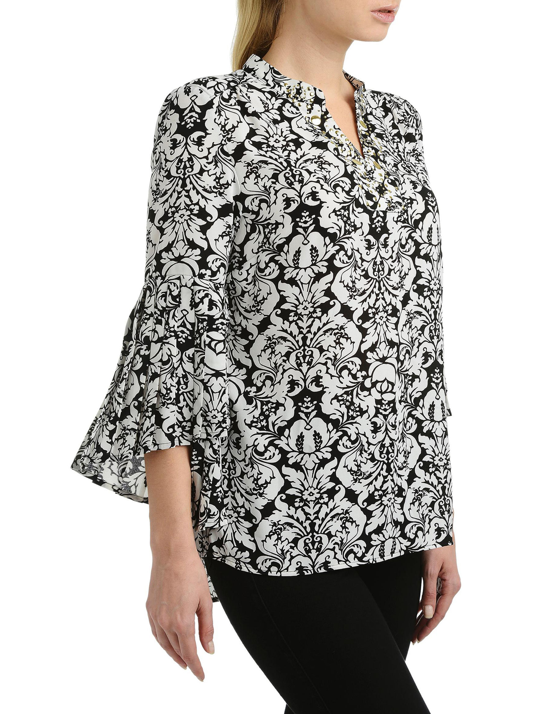 NY Collection Black /  White Shirts & Blouses