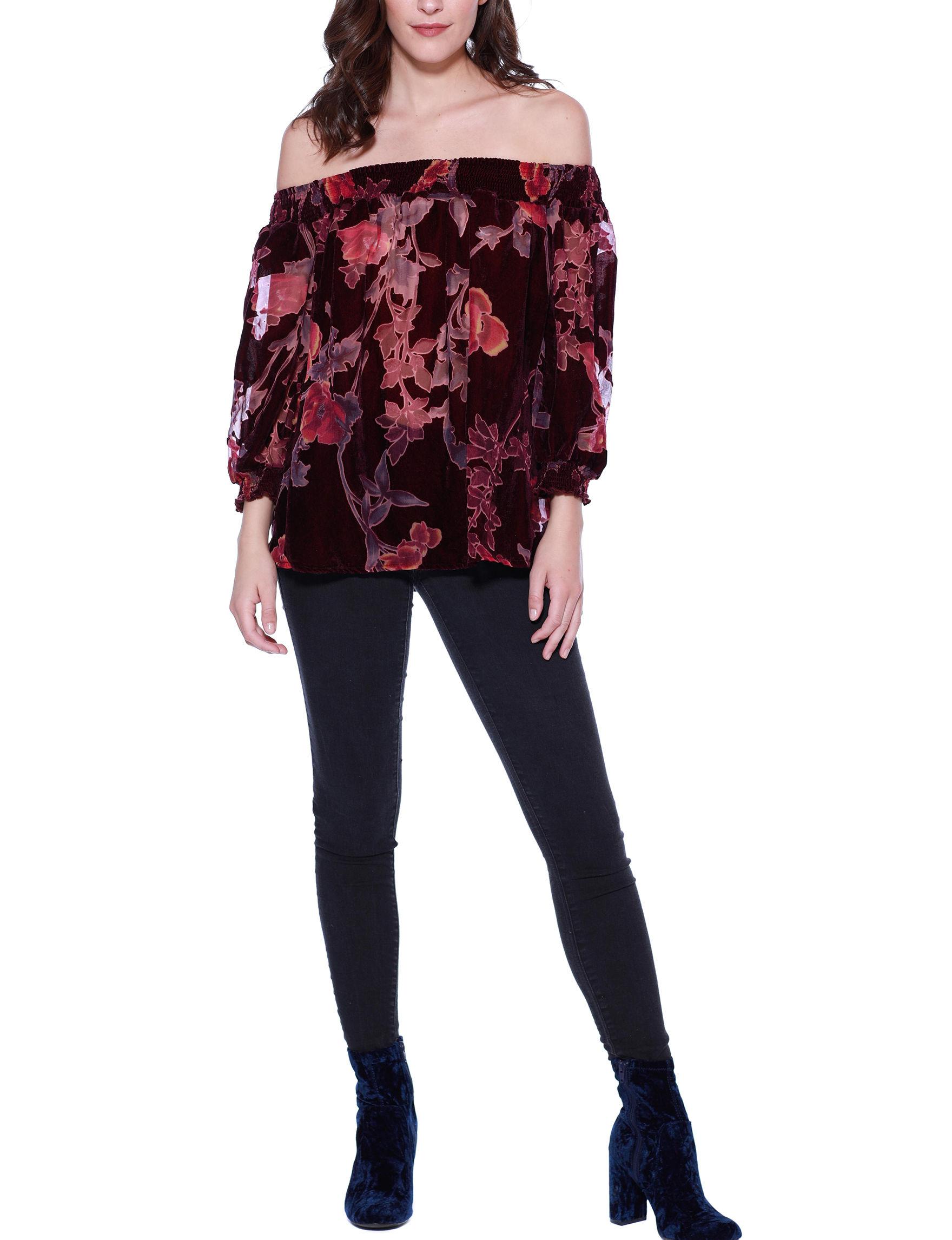 Crimson in Grace Burgundy Multi Shirts & Blouses