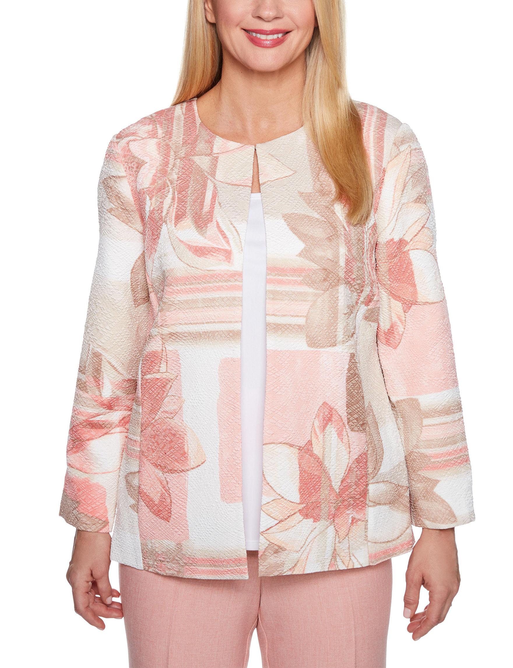 Alfred Dunner Beige Floral Lightweight Jackets & Blazers