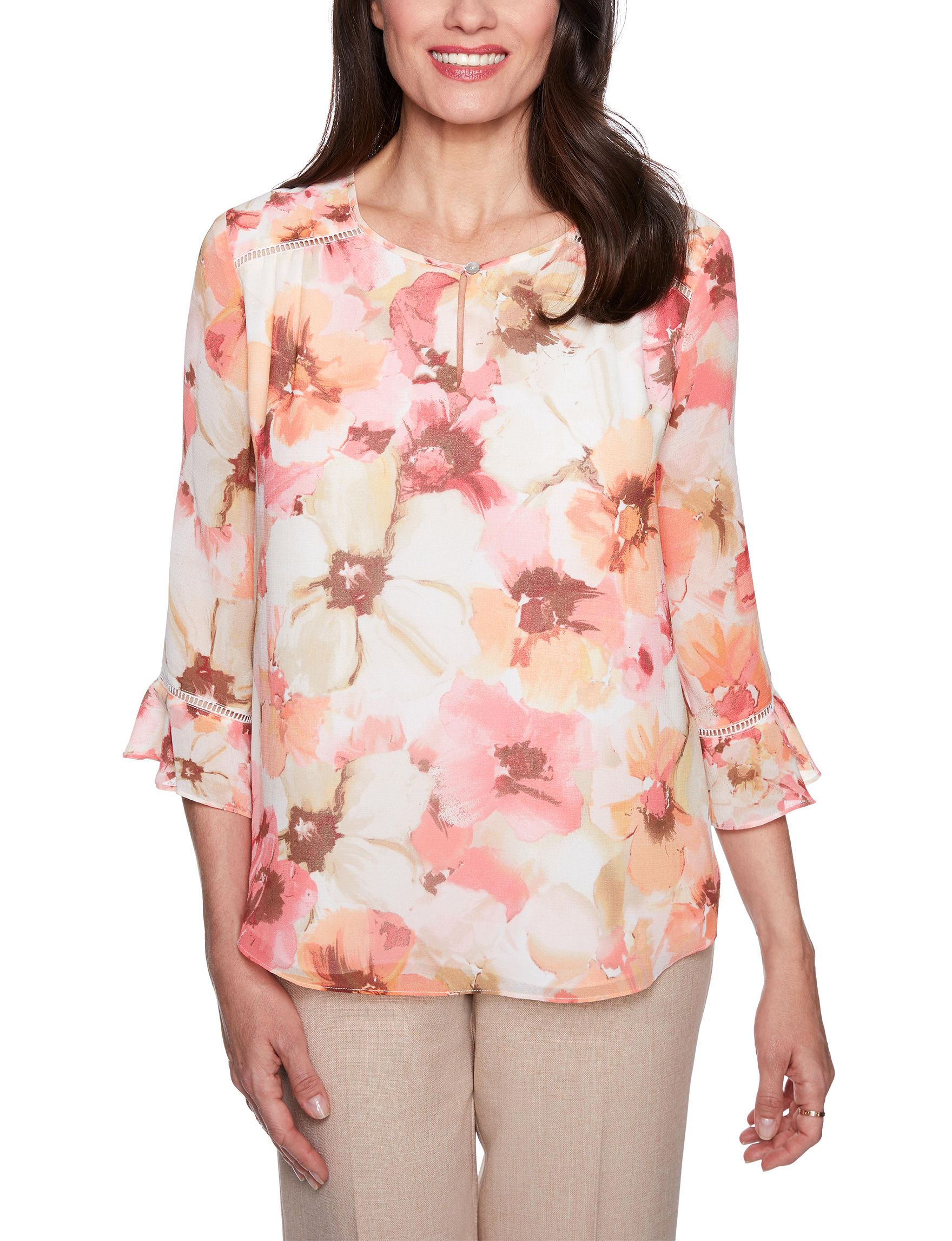 Alfred Dunner Beige Floral Shirts & Blouses