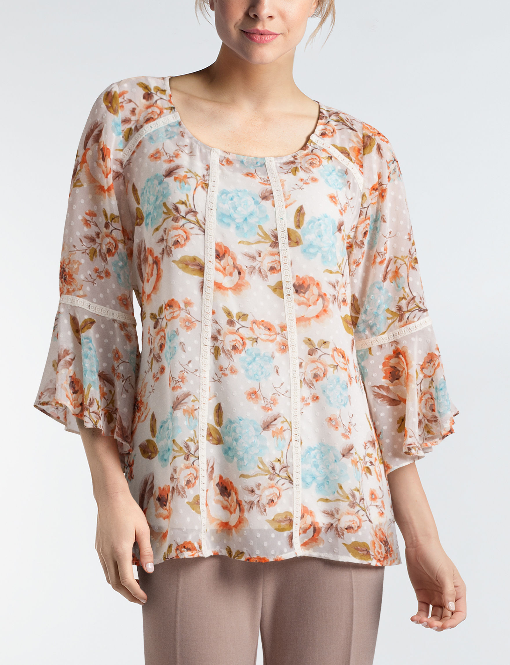 Sara Michelle Ivory Floral Shirts & Blouses
