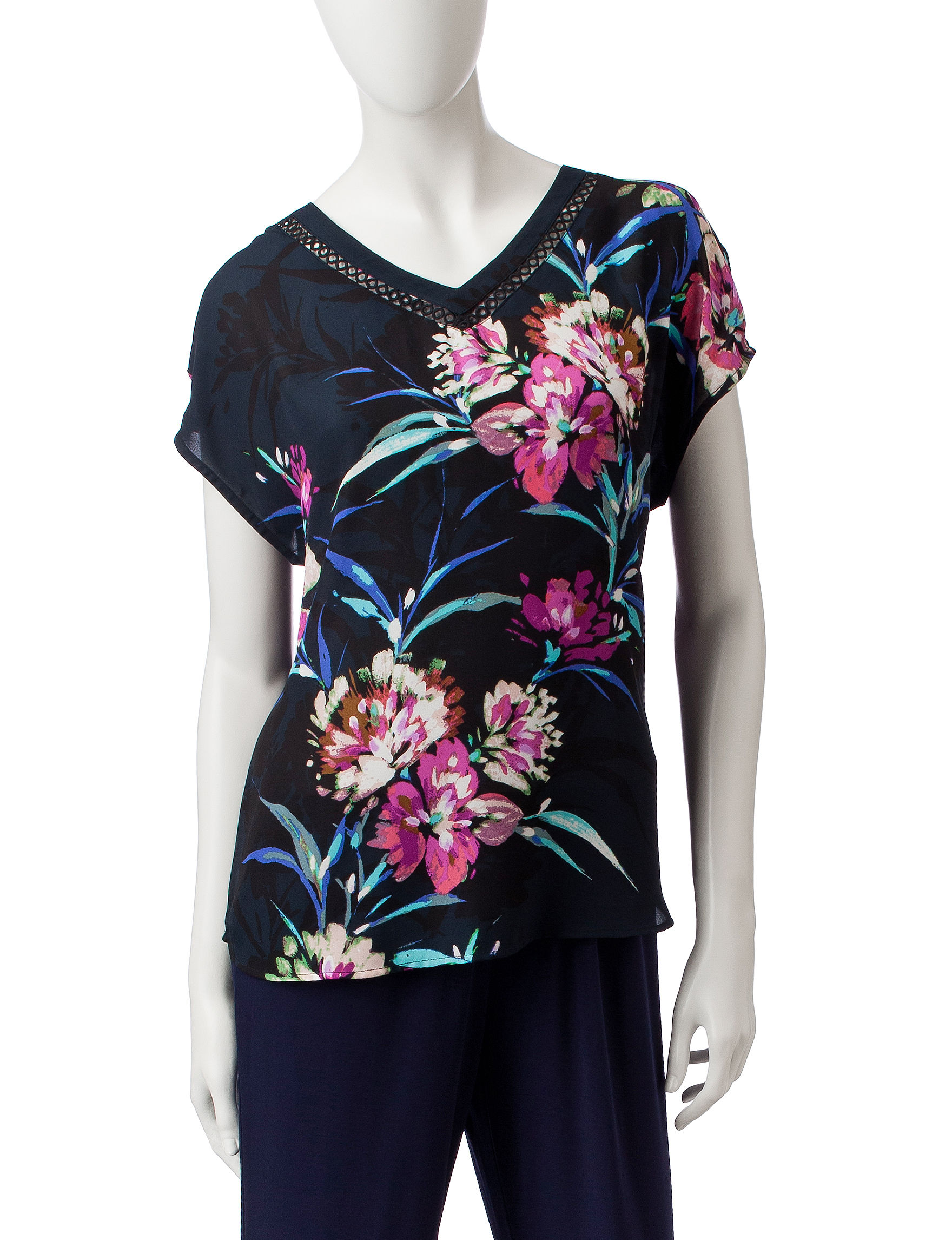 Valerie Stevens Blue Floral Everyday & Casual Shirts & Blouses
