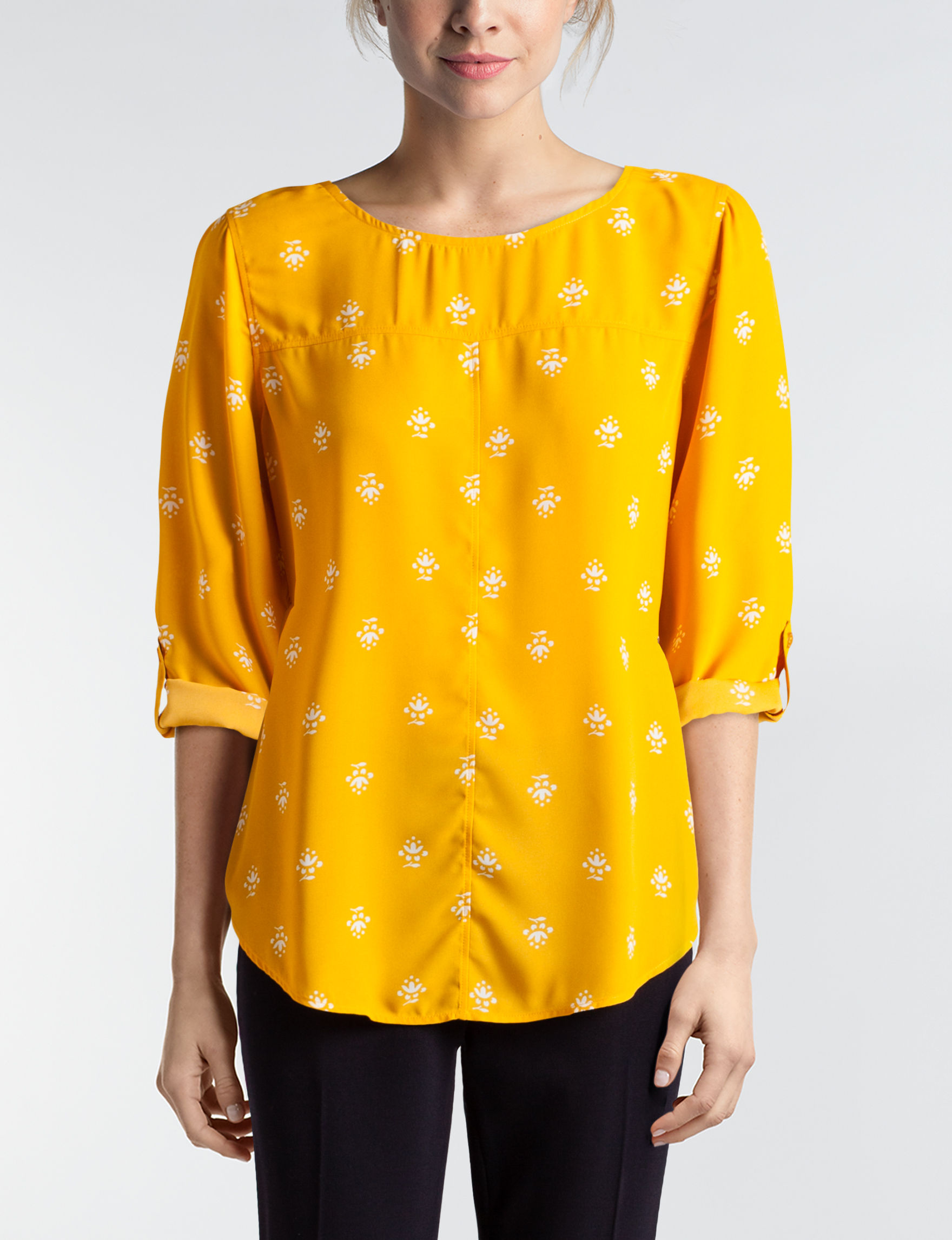Valerie Stevens Yellow Floral Shirts & Blouses