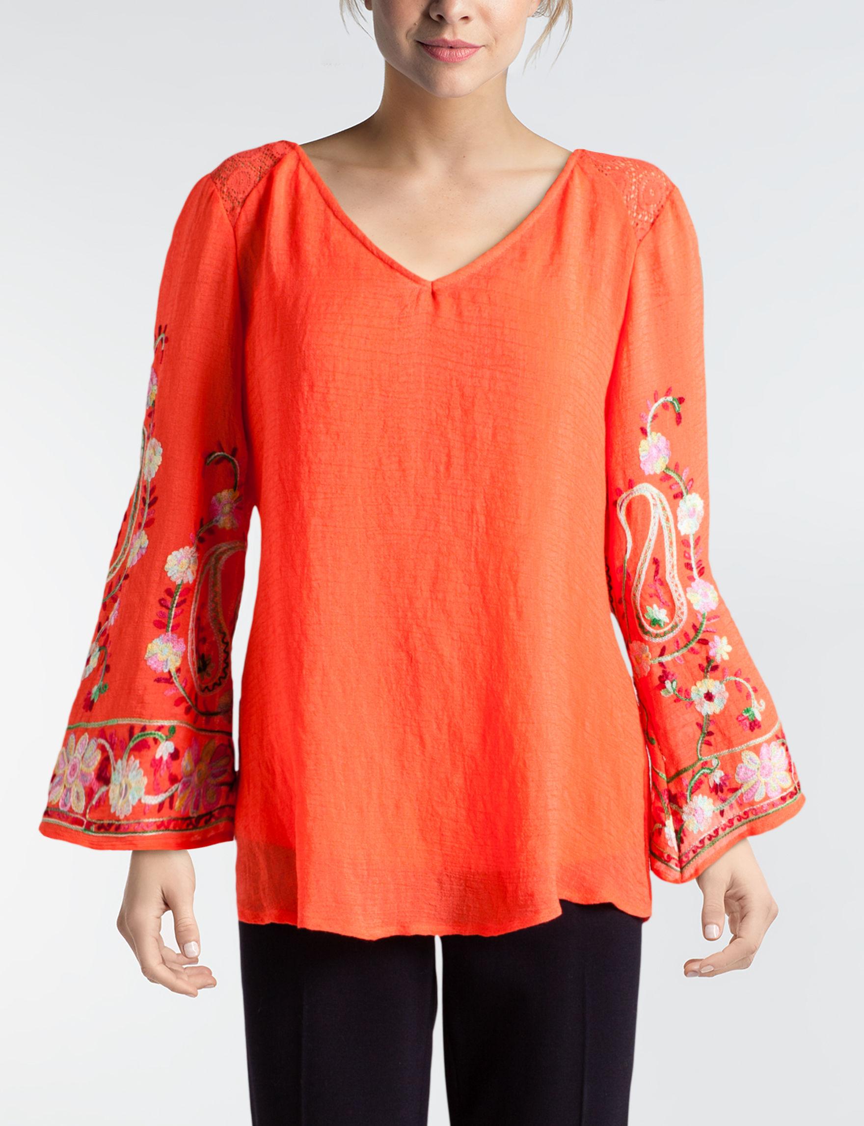 Valerie Stevens Bright Orange Pull-overs Shirts & Blouses