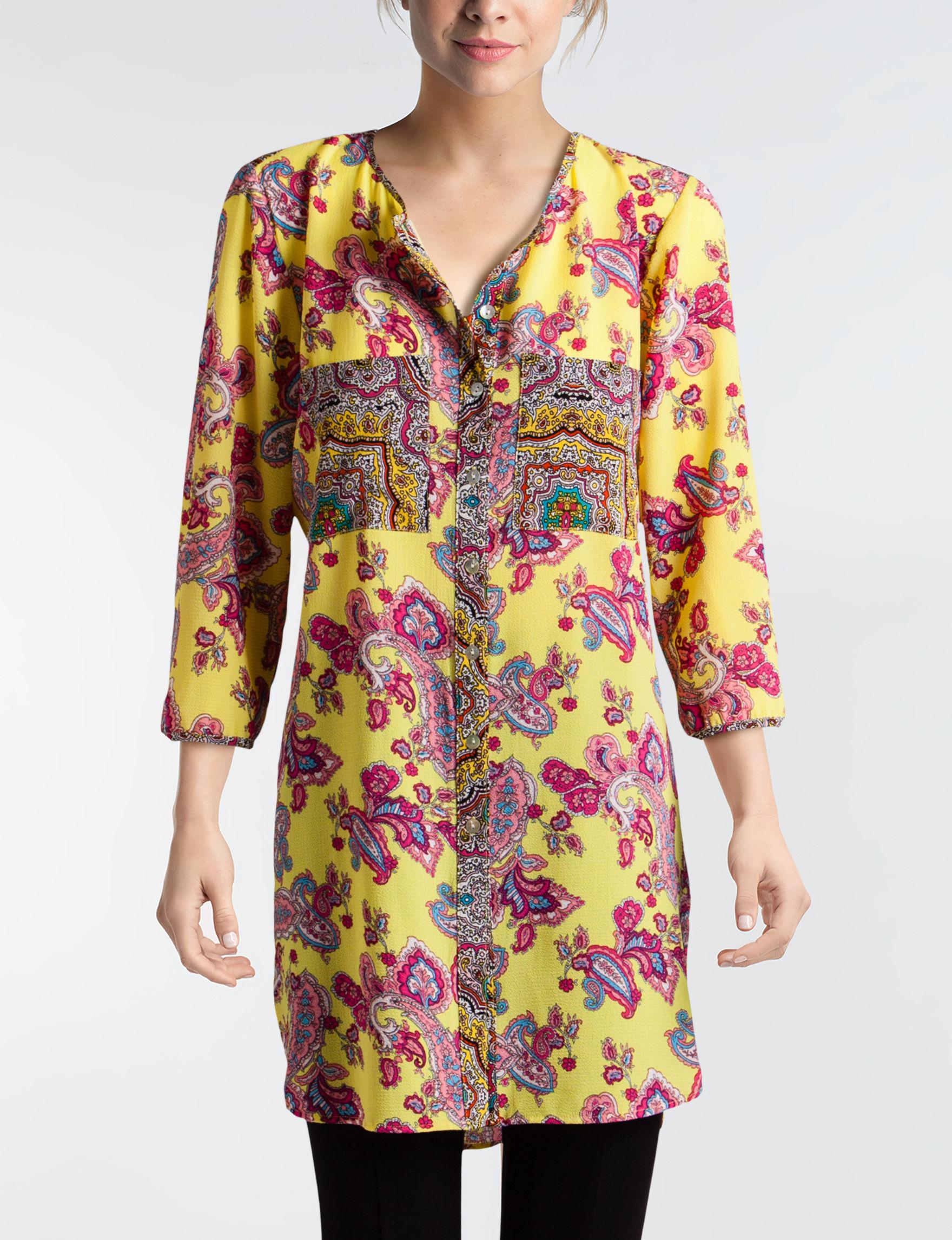 Valerie Stevens Yellow Paisley Shirts & Blouses