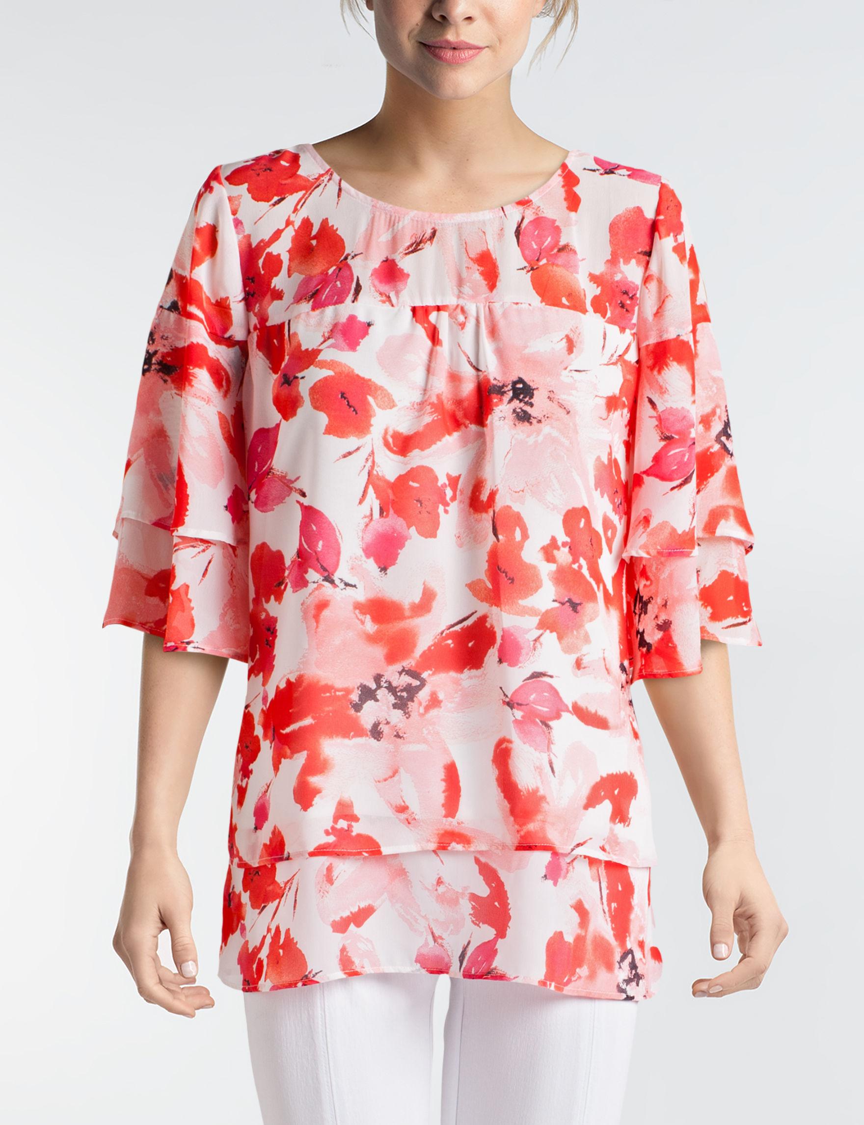 Valerie Stevens Pink Multi Shirts & Blouses