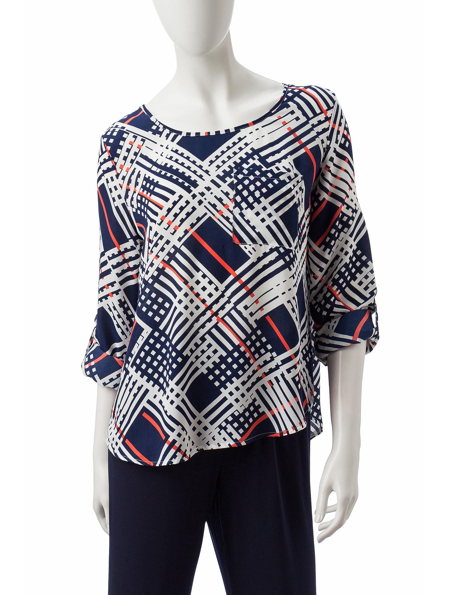 Valerie Stevens Blue / Multi Shirts & Blouses