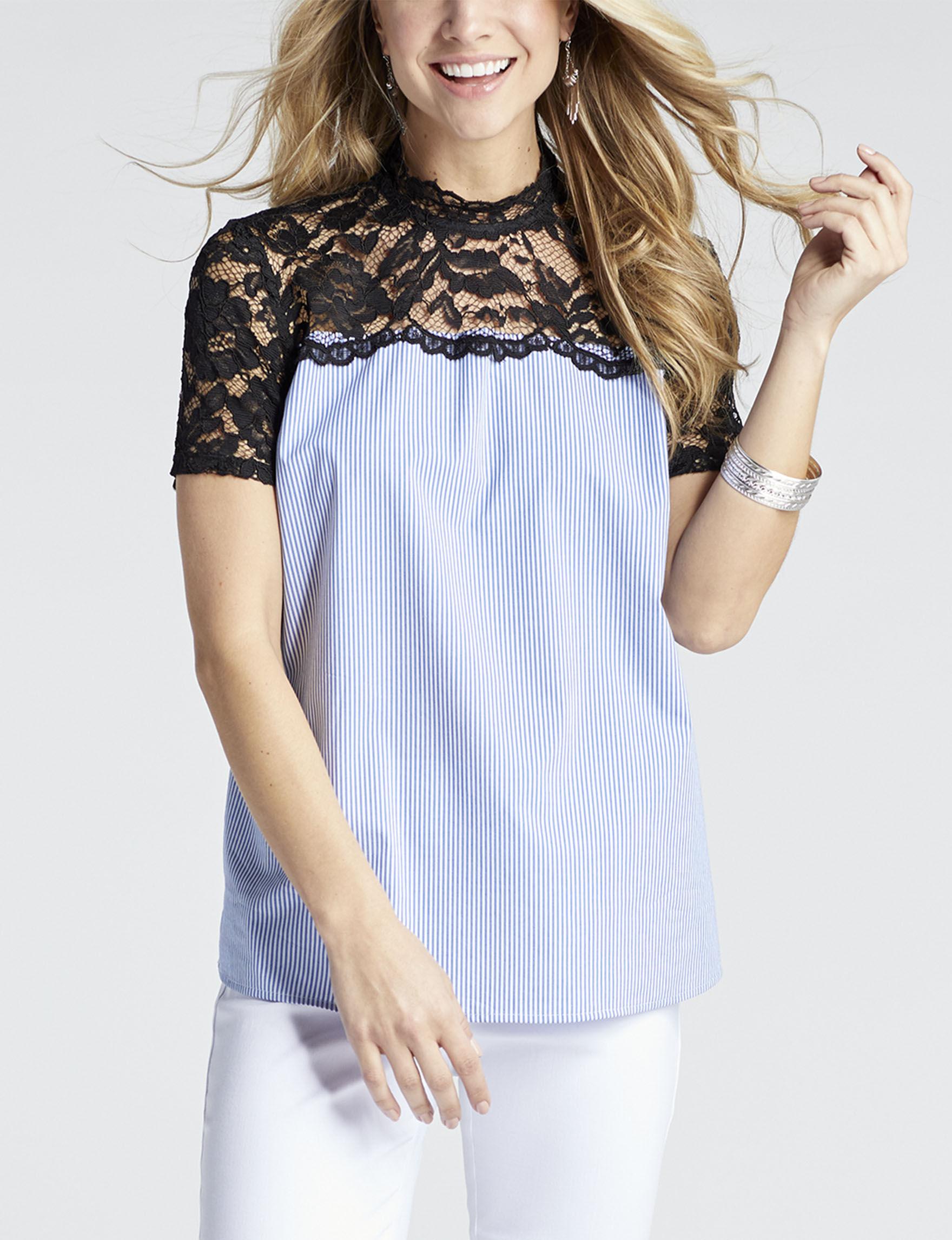 Valerie Stevens Blue / White Shirts & Blouses