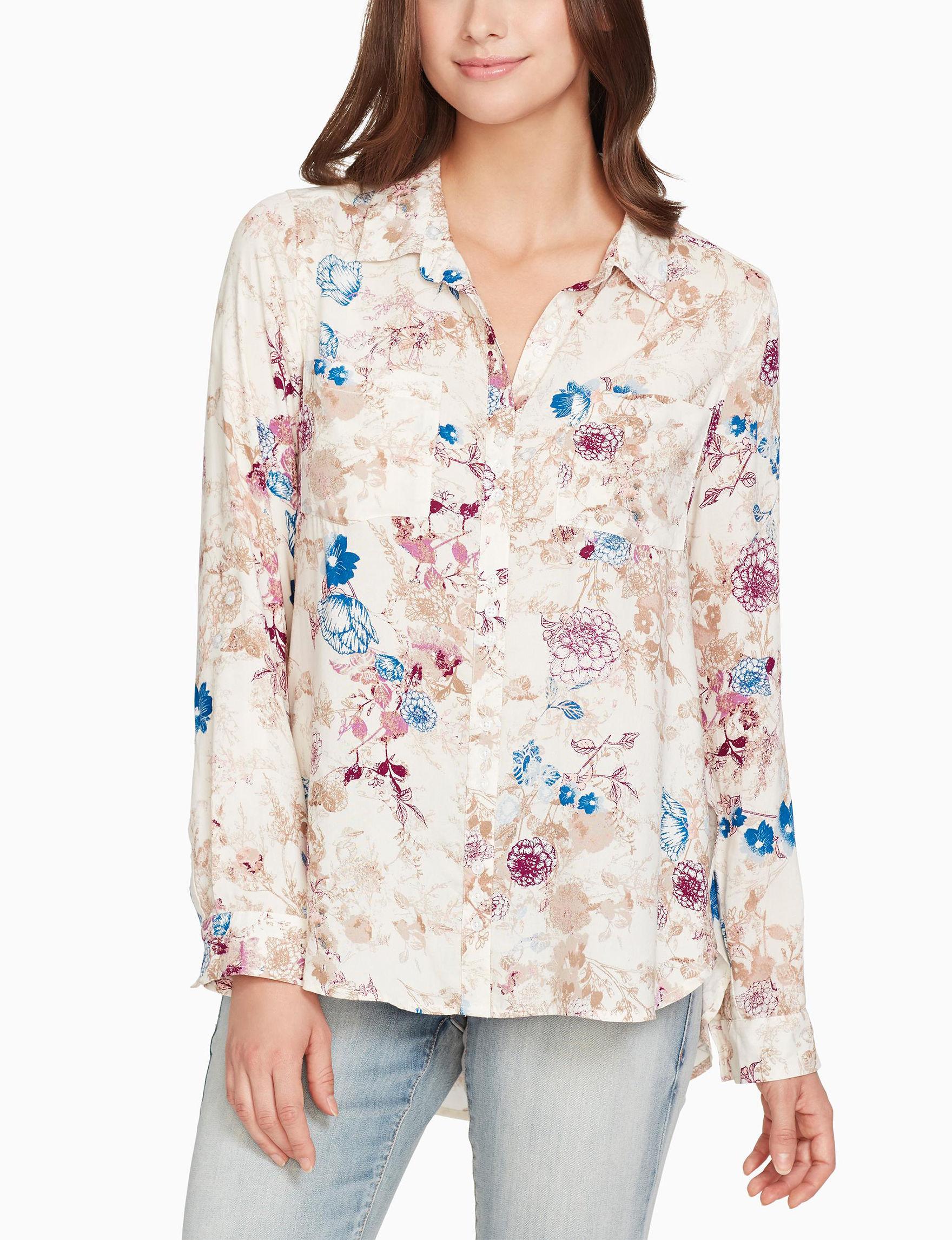 Nine West Beige Floral Shirts & Blouses