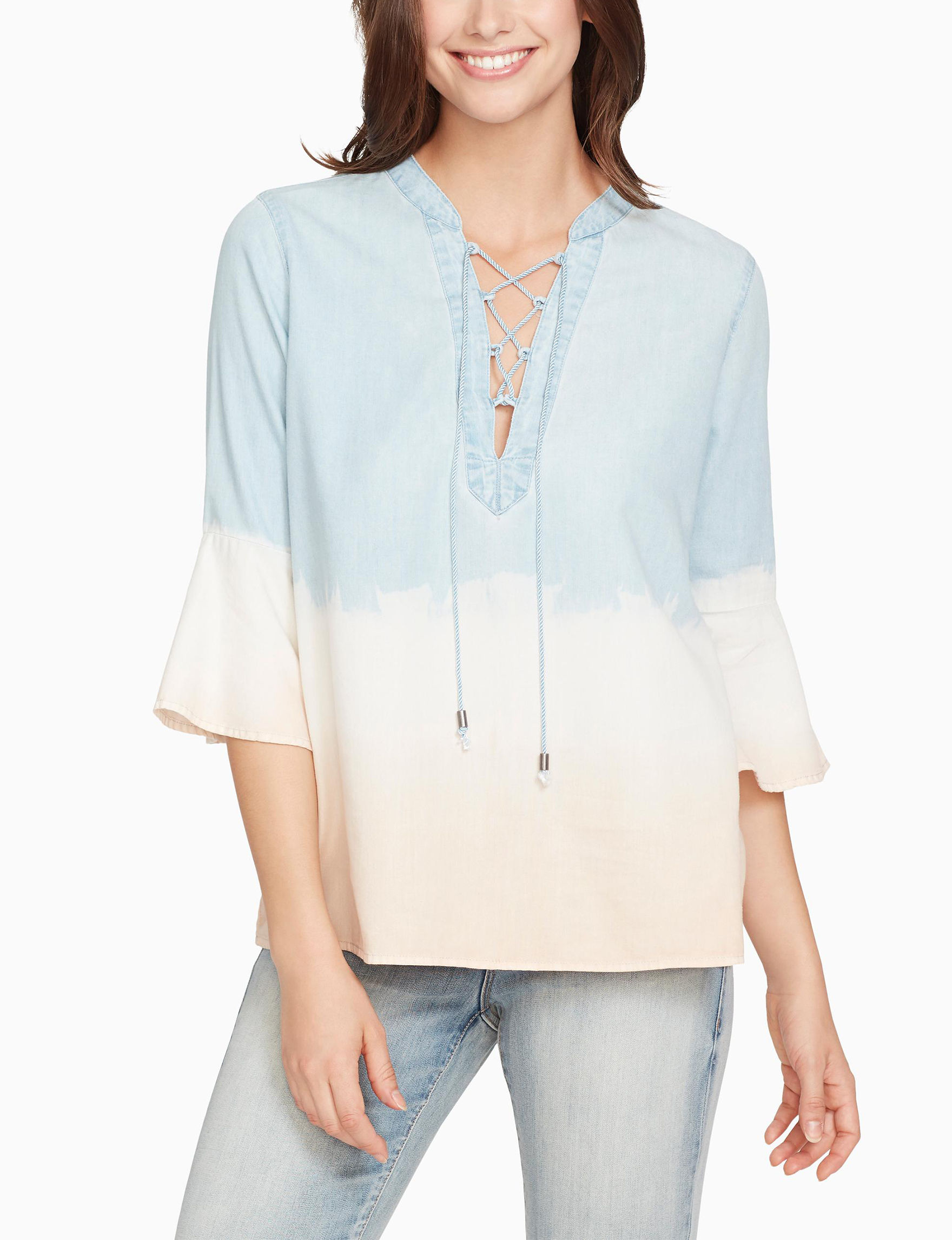 Nine West Blue/White/Pink Shirts & Blouses