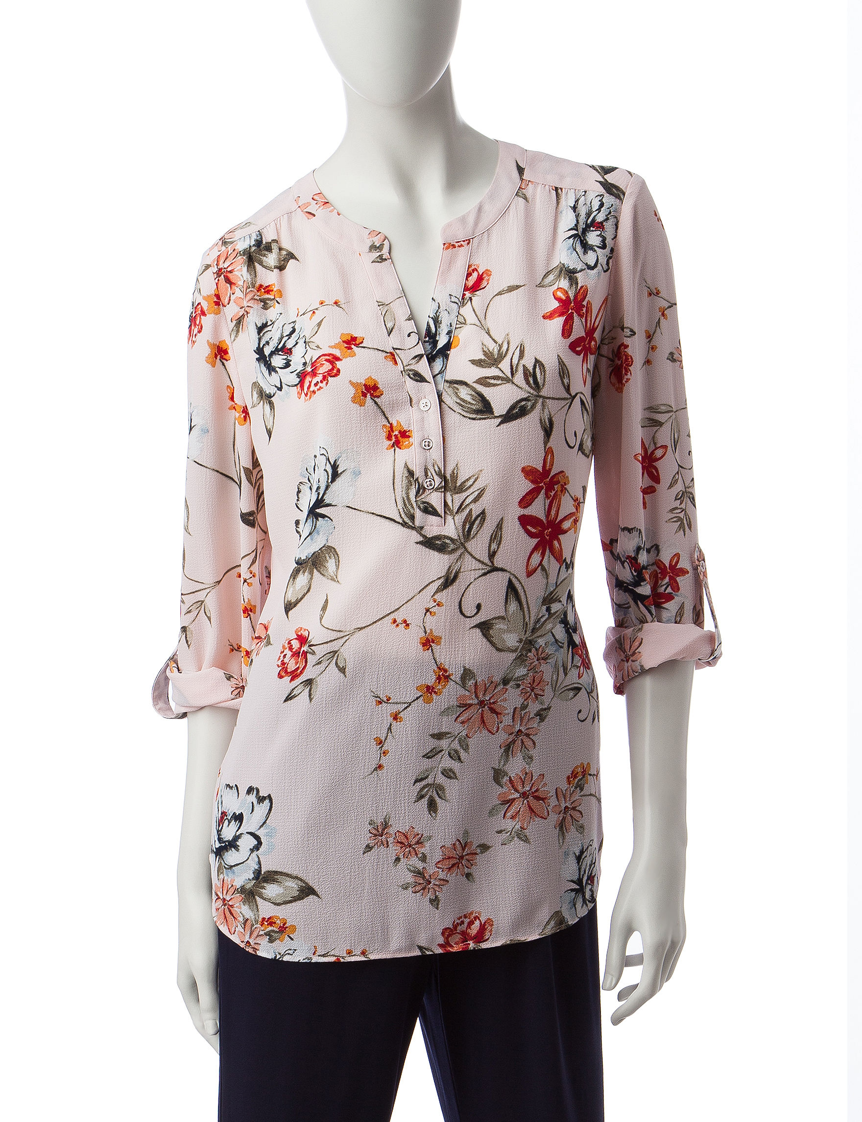 Valerie Stevens Pink Floral Shirts & Blouses