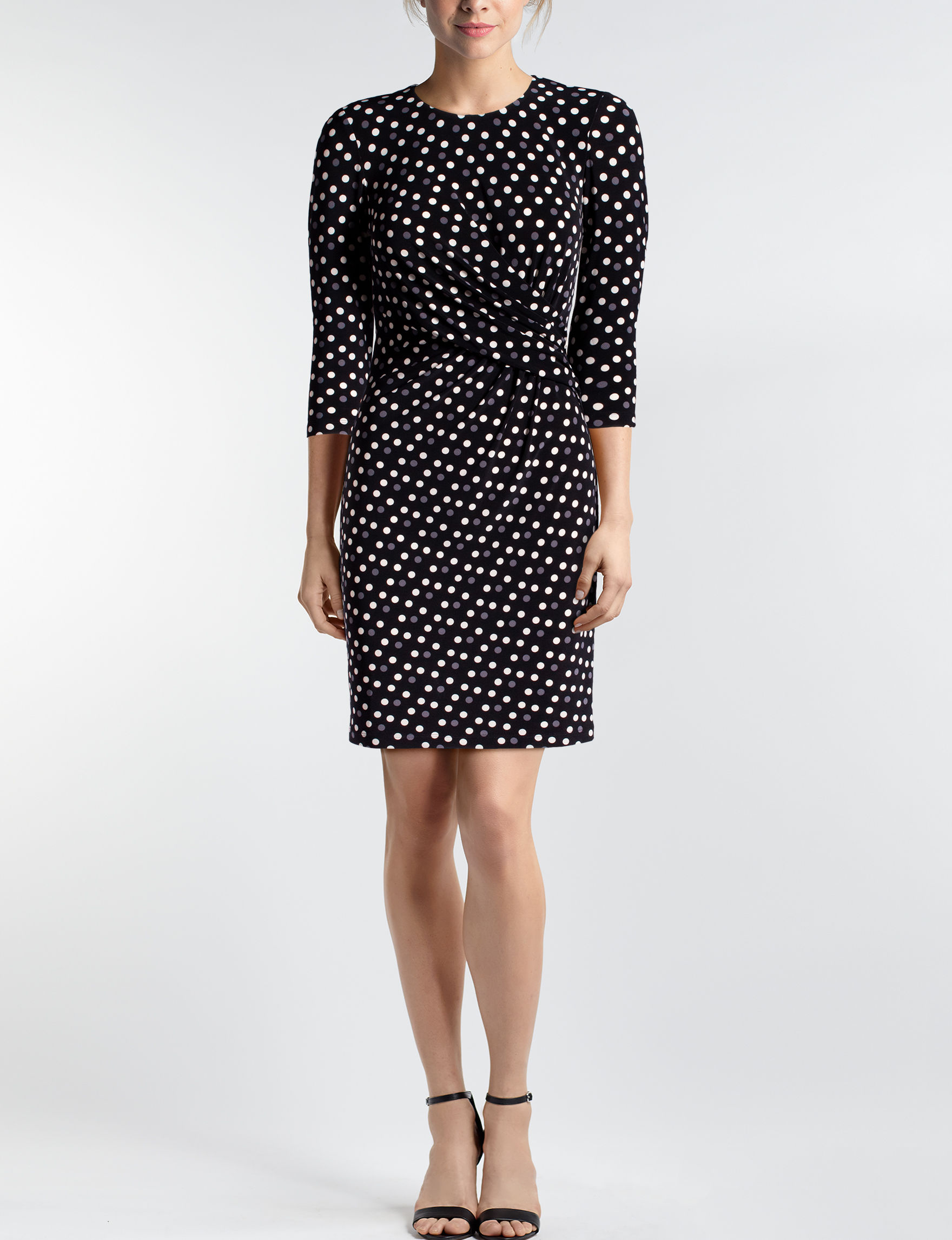 Anne Klein Black/Grey/White Everyday & Casual Shift Dresses