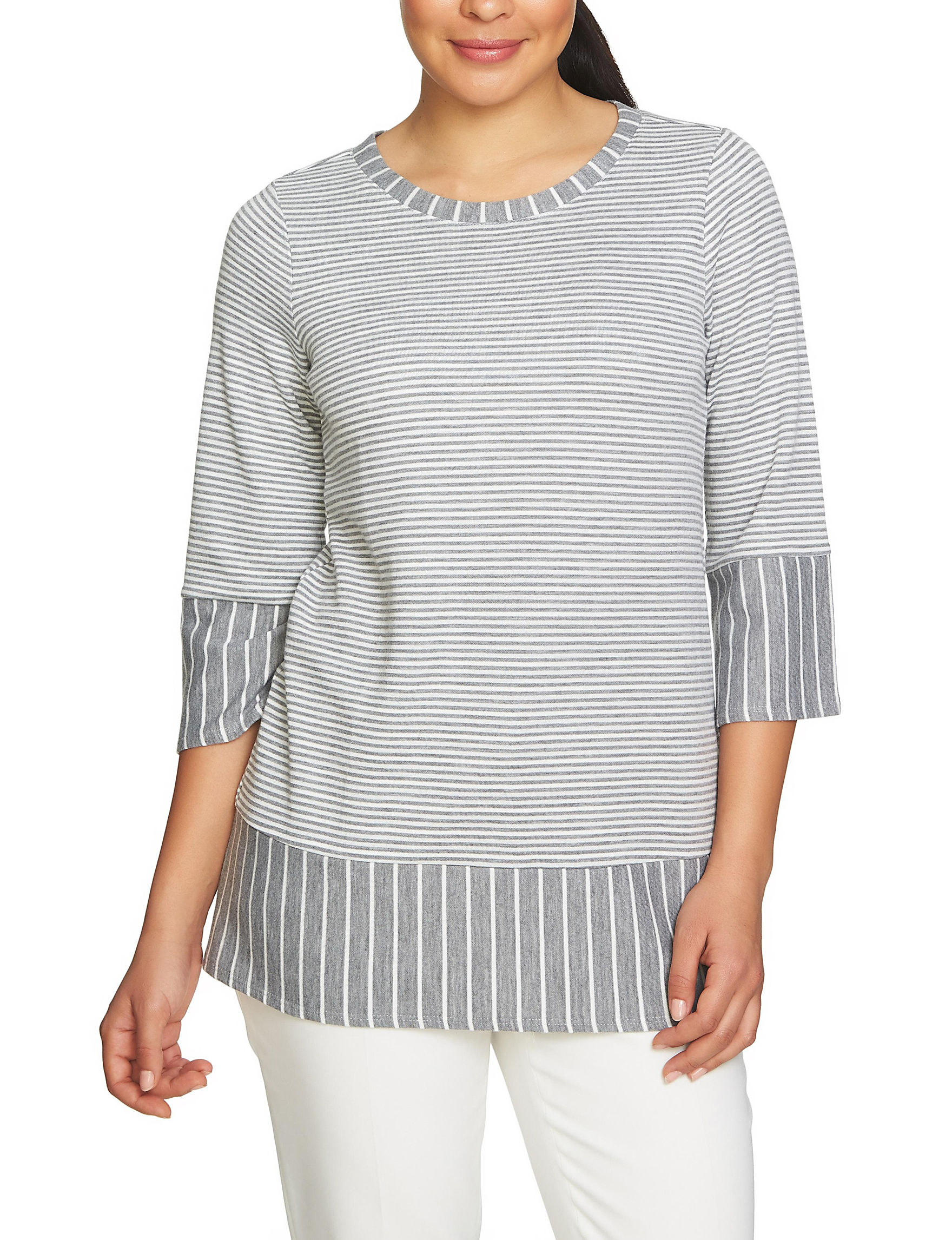 Chaus Grey / White Pull-overs Shirts & Blouses