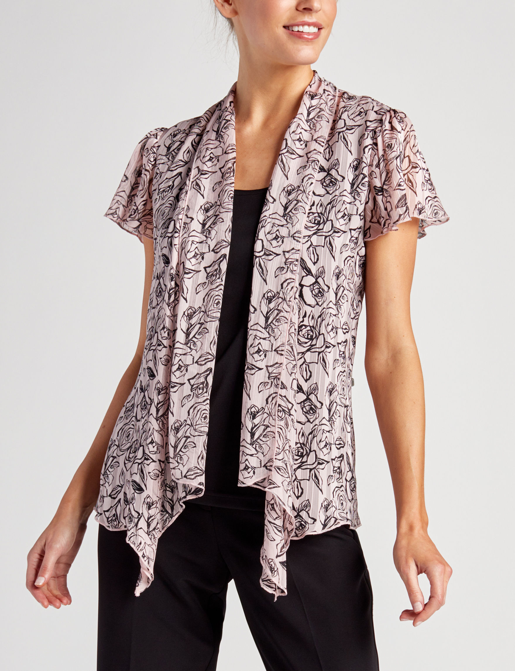 Sara Michelle Mauve / Black Shirts & Blouses
