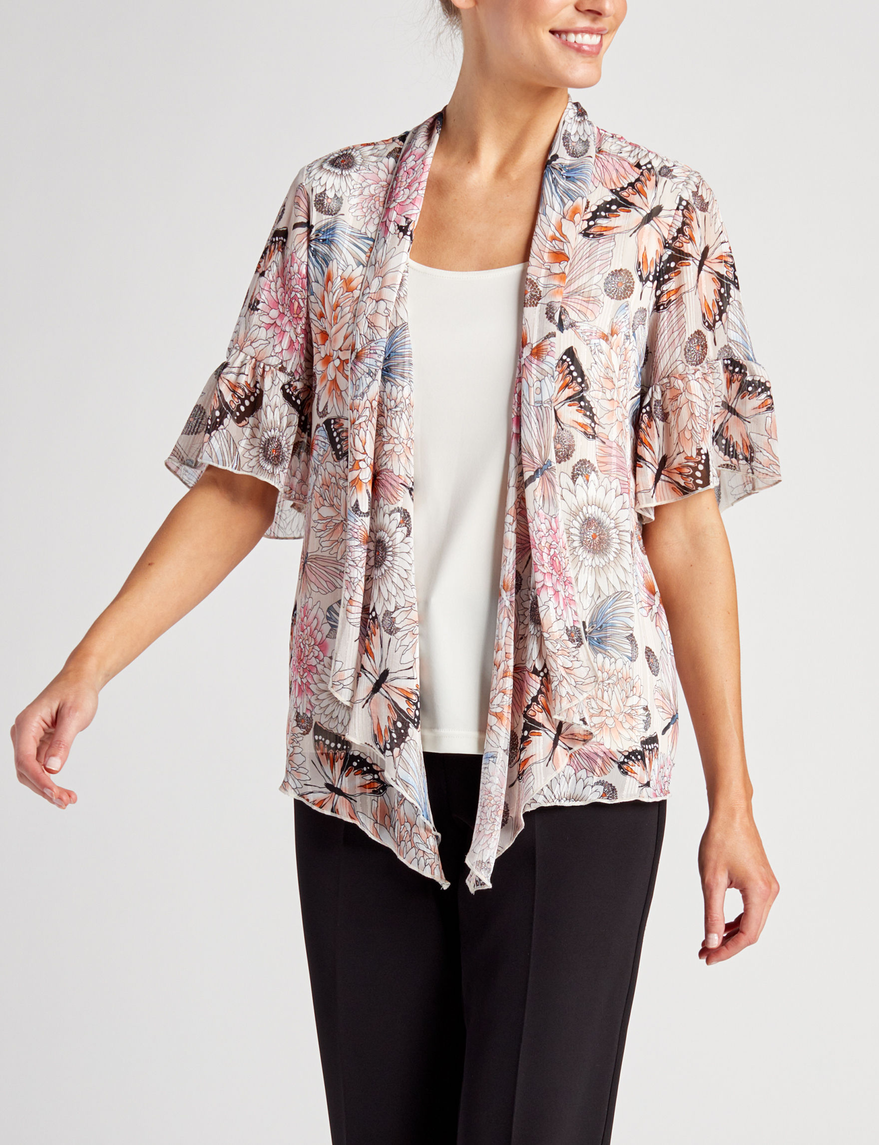 Sara Michelle Pink Floral Shirts & Blouses
