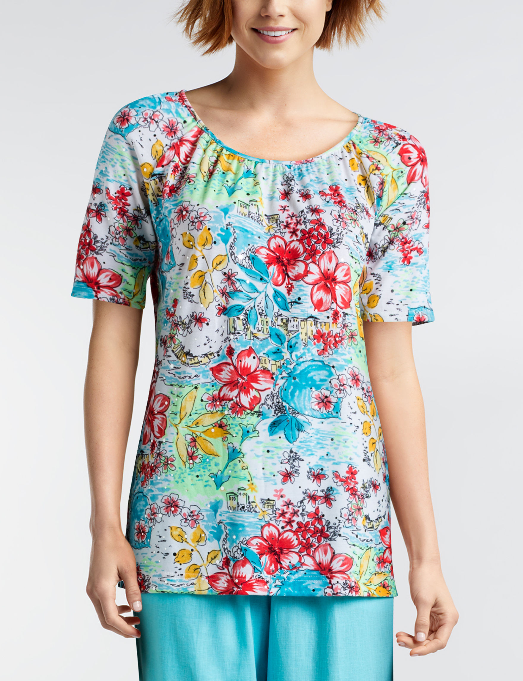 Rebecca Malone Blue Floral Shirts & Blouses