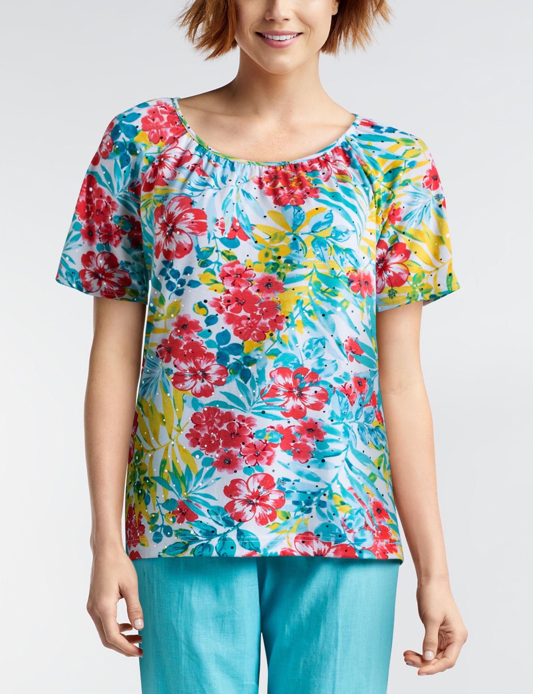 Rebecca Malone Blue Floral Shirts & Blouses