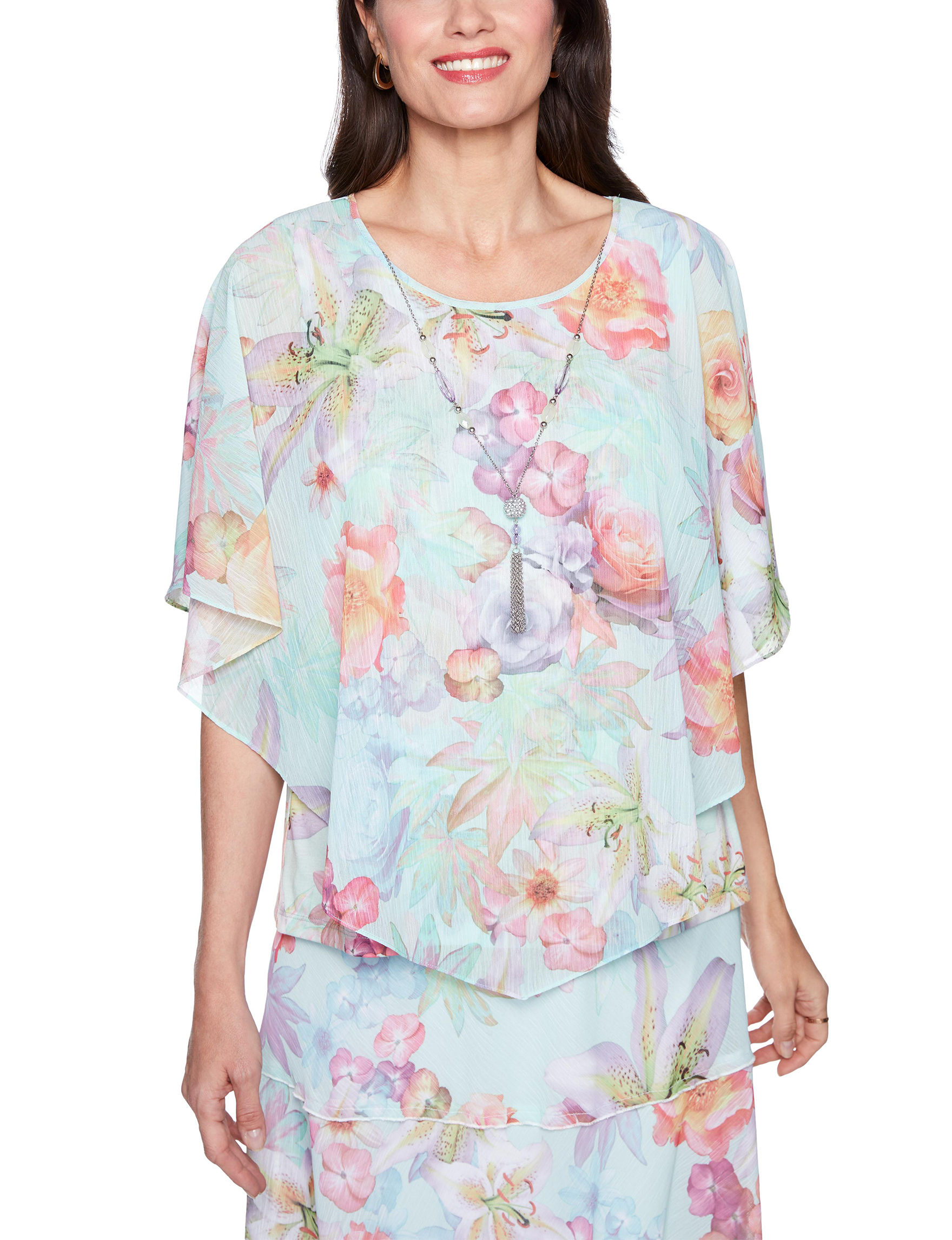Alfred Dunner Mint Floral Shirts & Blouses