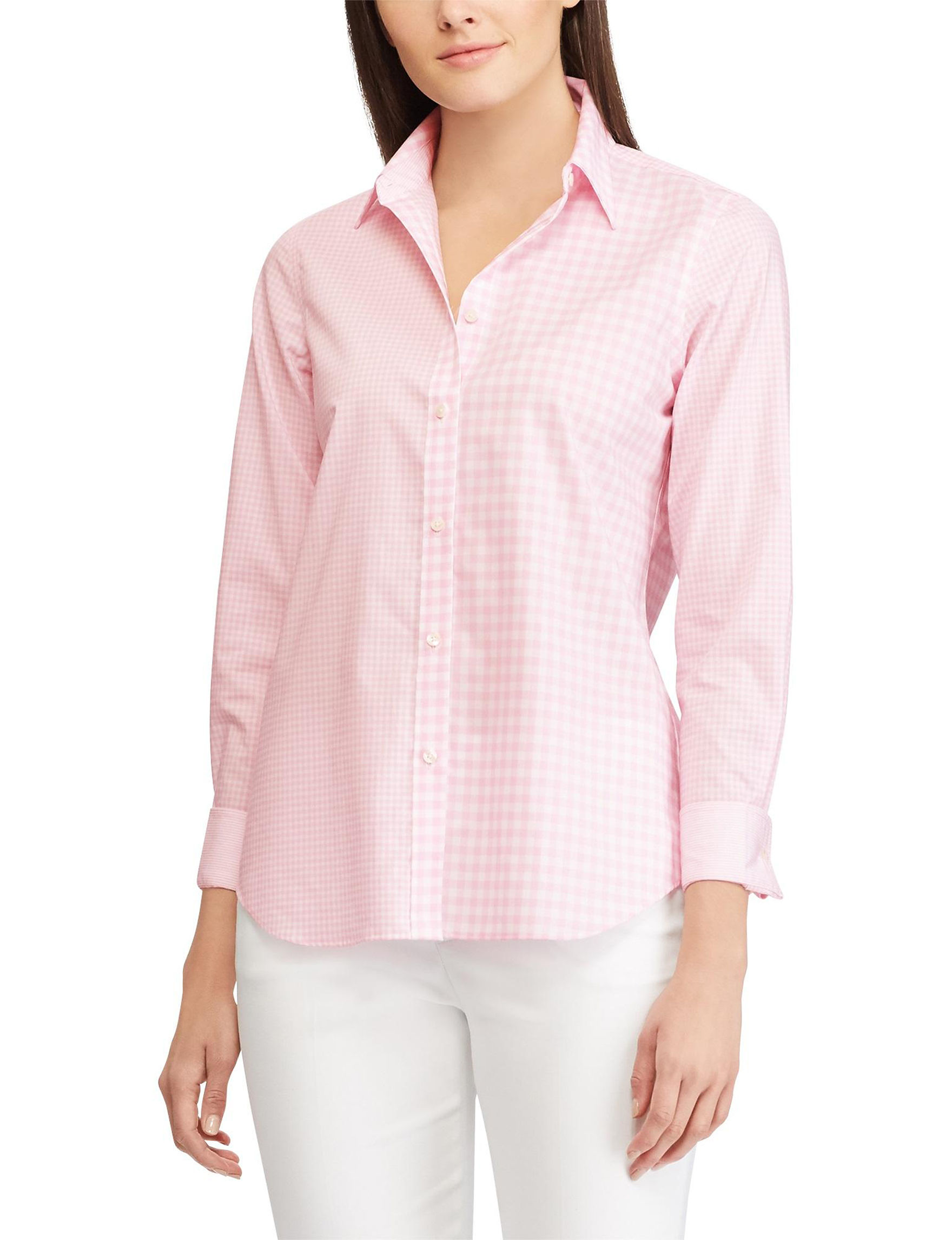 Chaps Pink / White Shirts & Blouses