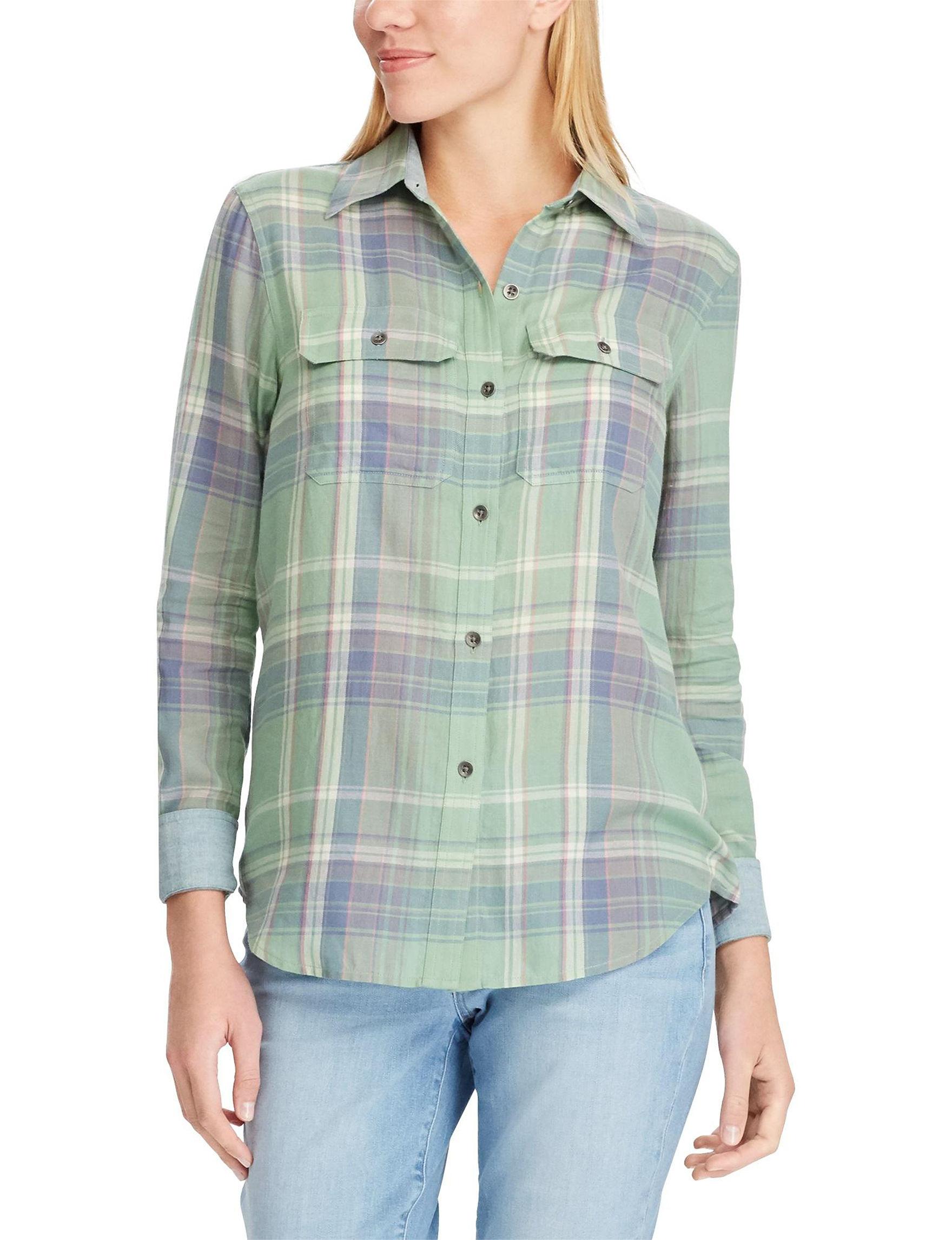 Chaps Green Plaid Shirts & Blouses