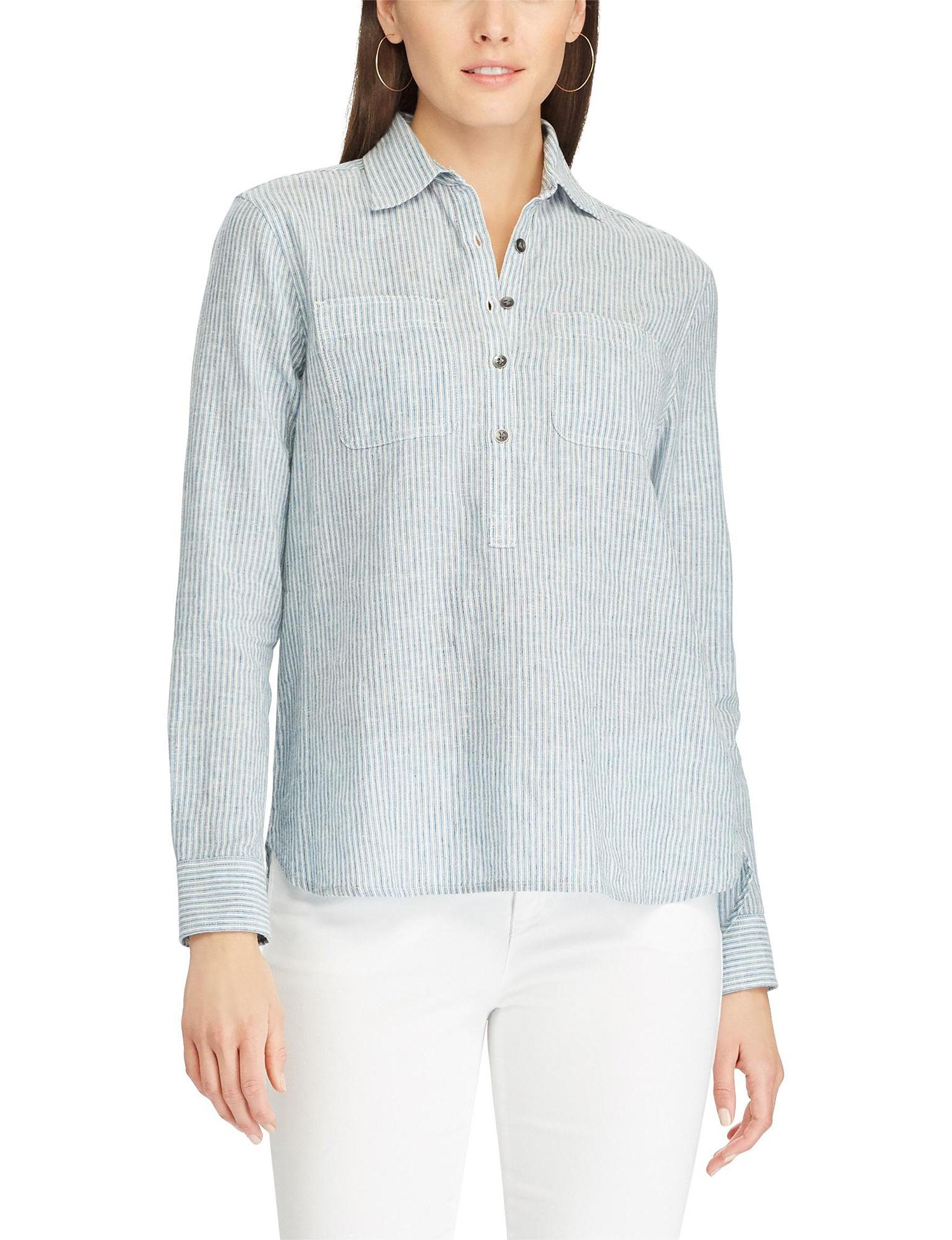 Chaps Blue/White Stripe Shirts & Blouses