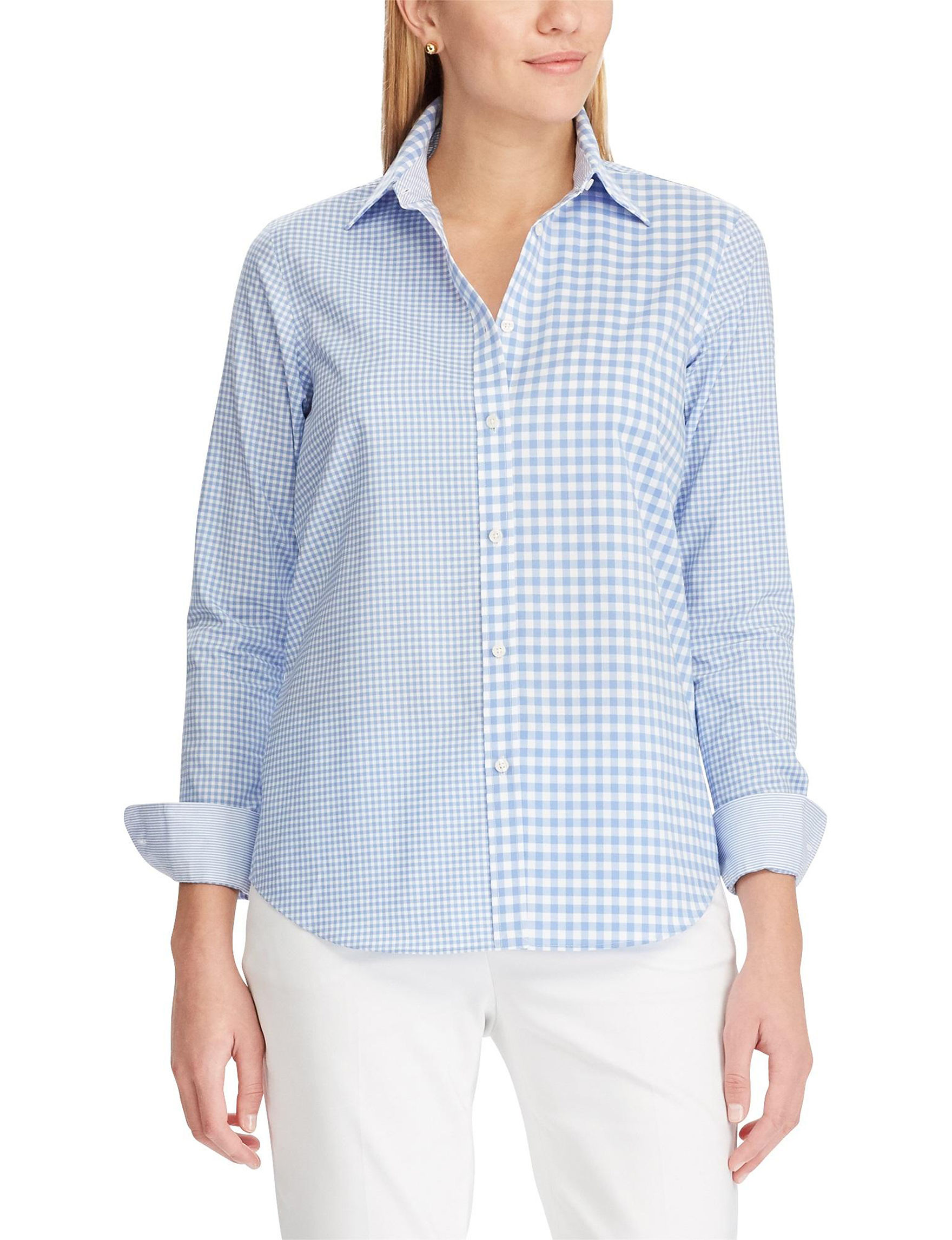 Chaps Blue Gingham Shirts & Blouses