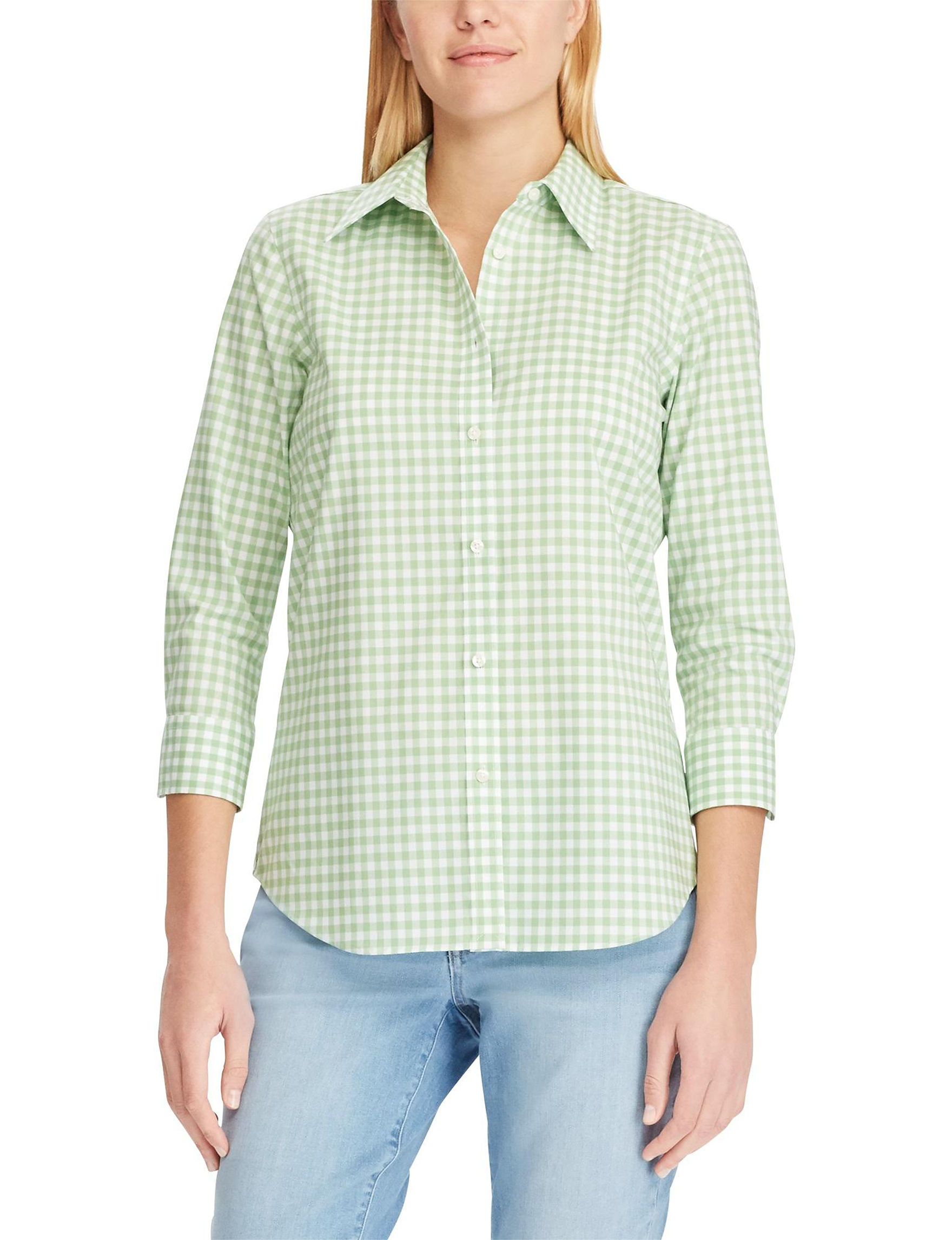 Chaps Green Gingham Shirts & Blouses