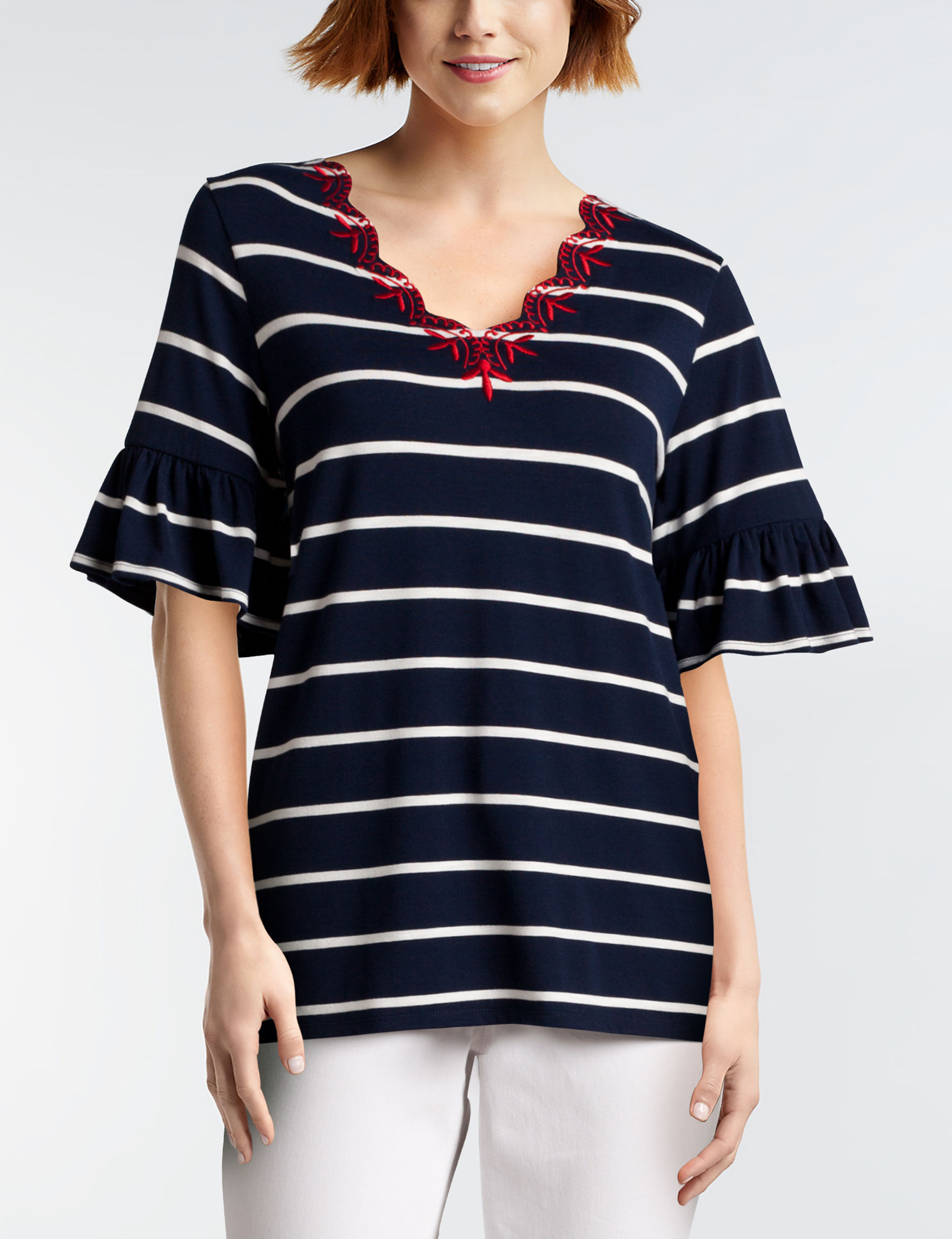 Hannah Navy / White Shirts & Blouses