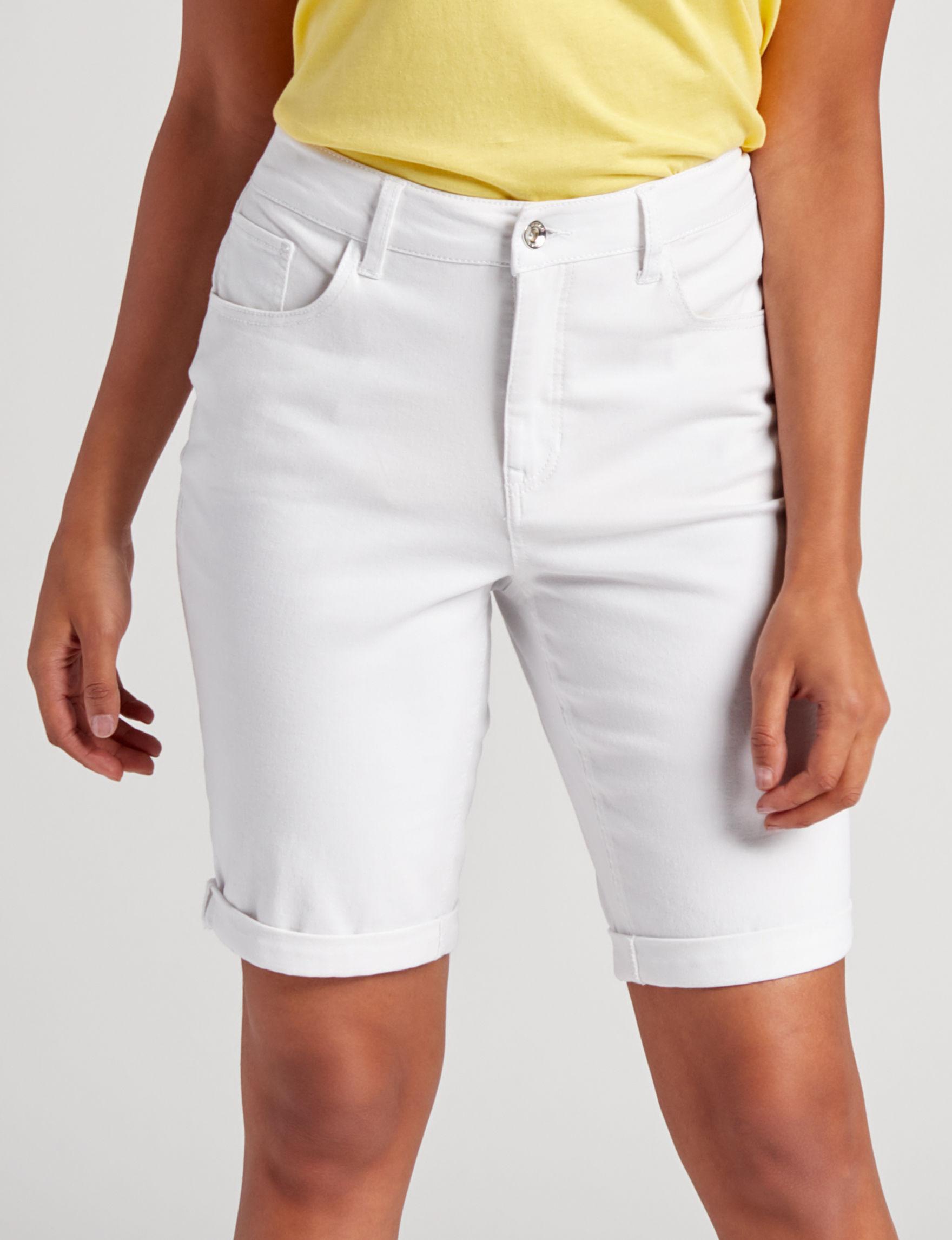 Hannah White Bermudas Denim Shorts