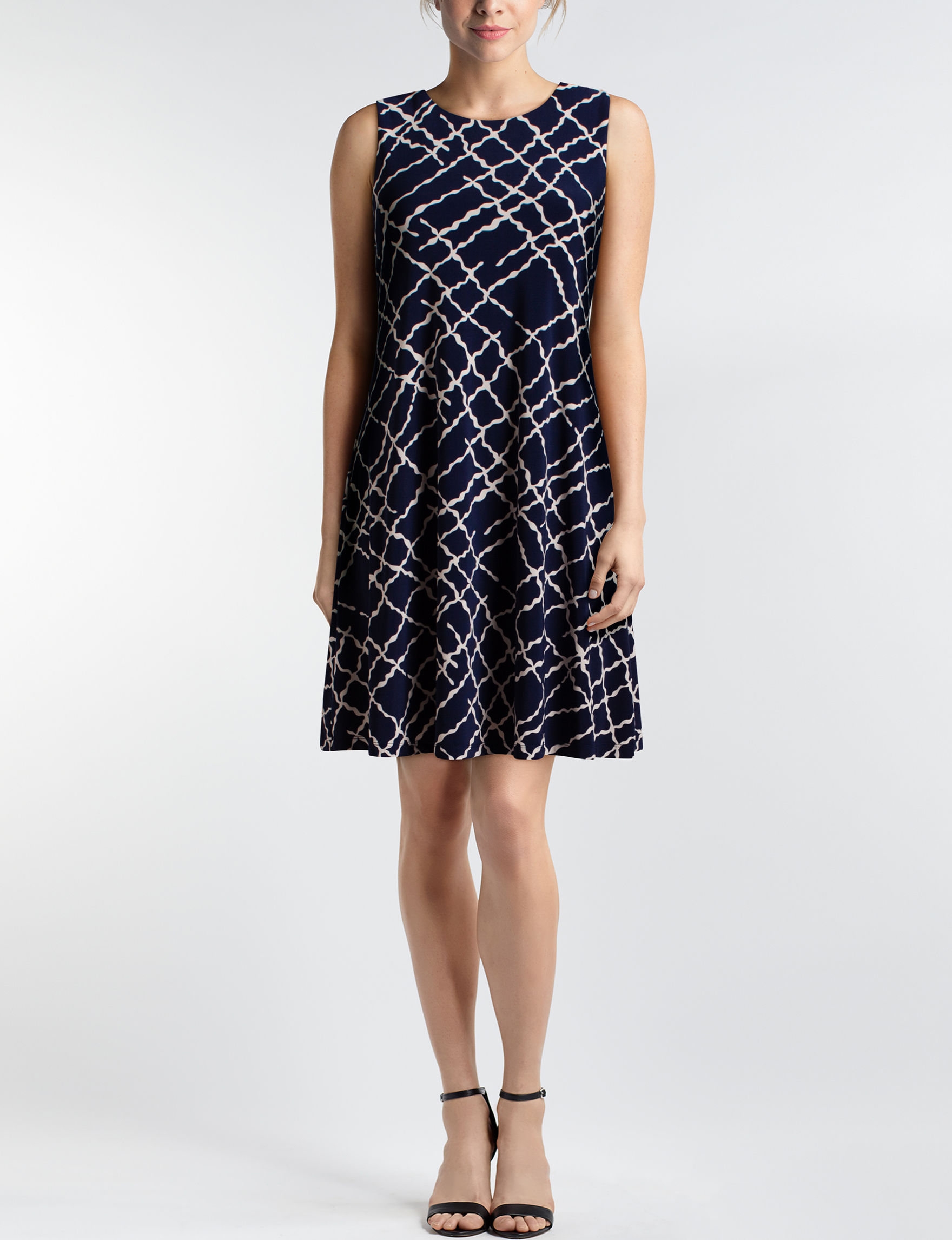 Anne Klein Navy / White Cocktail & Party Everyday & Casual Fit & Flare Dresses