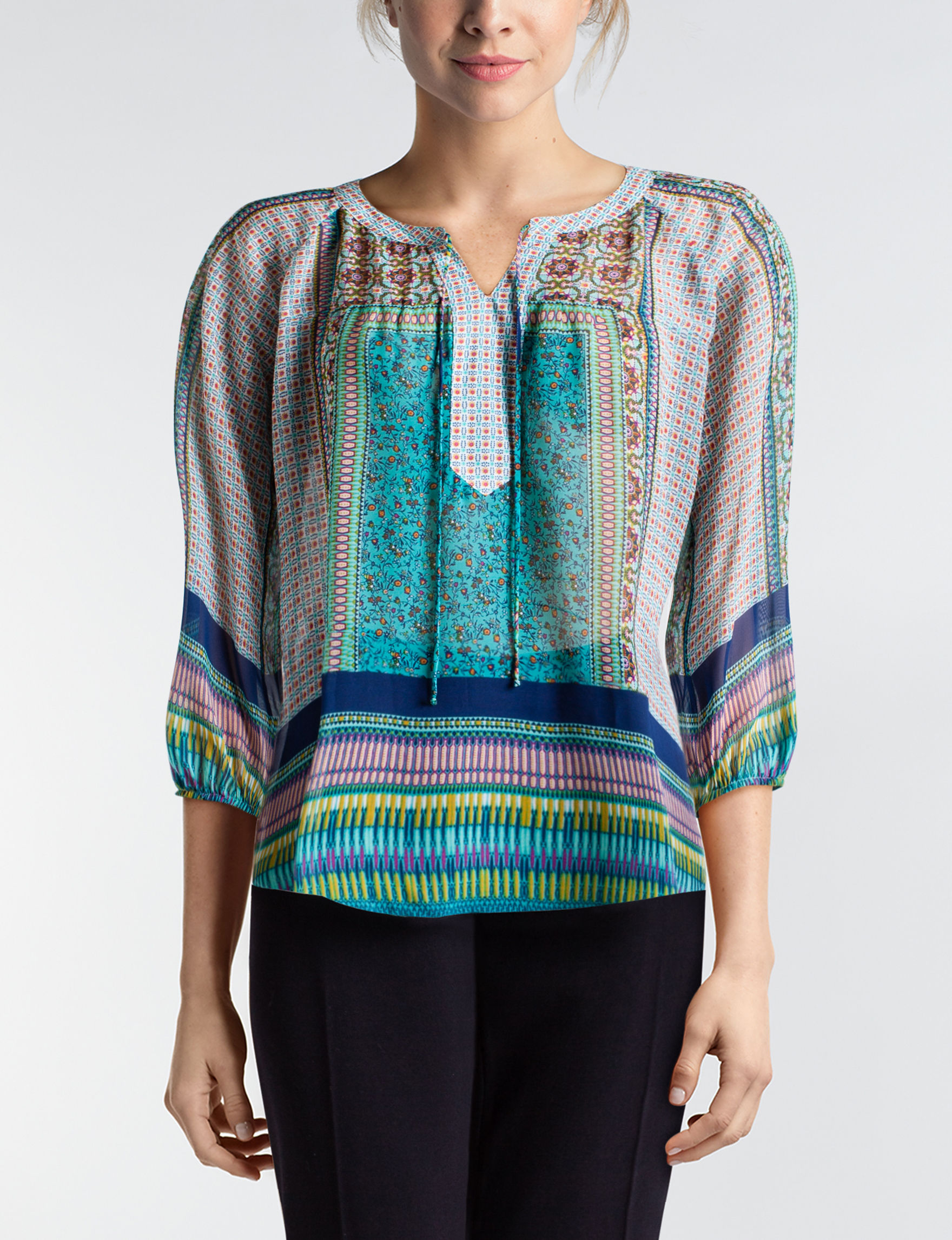 Figuero & Flower Aqua Shirts & Blouses