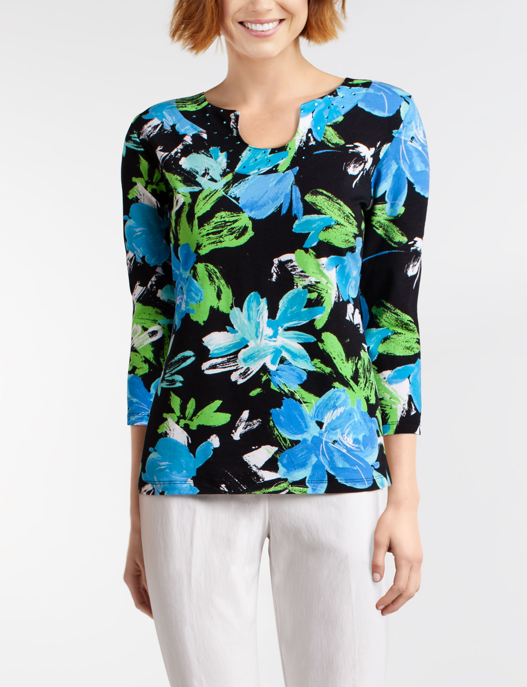 Ruby Road Black Floral Shirts & Blouses