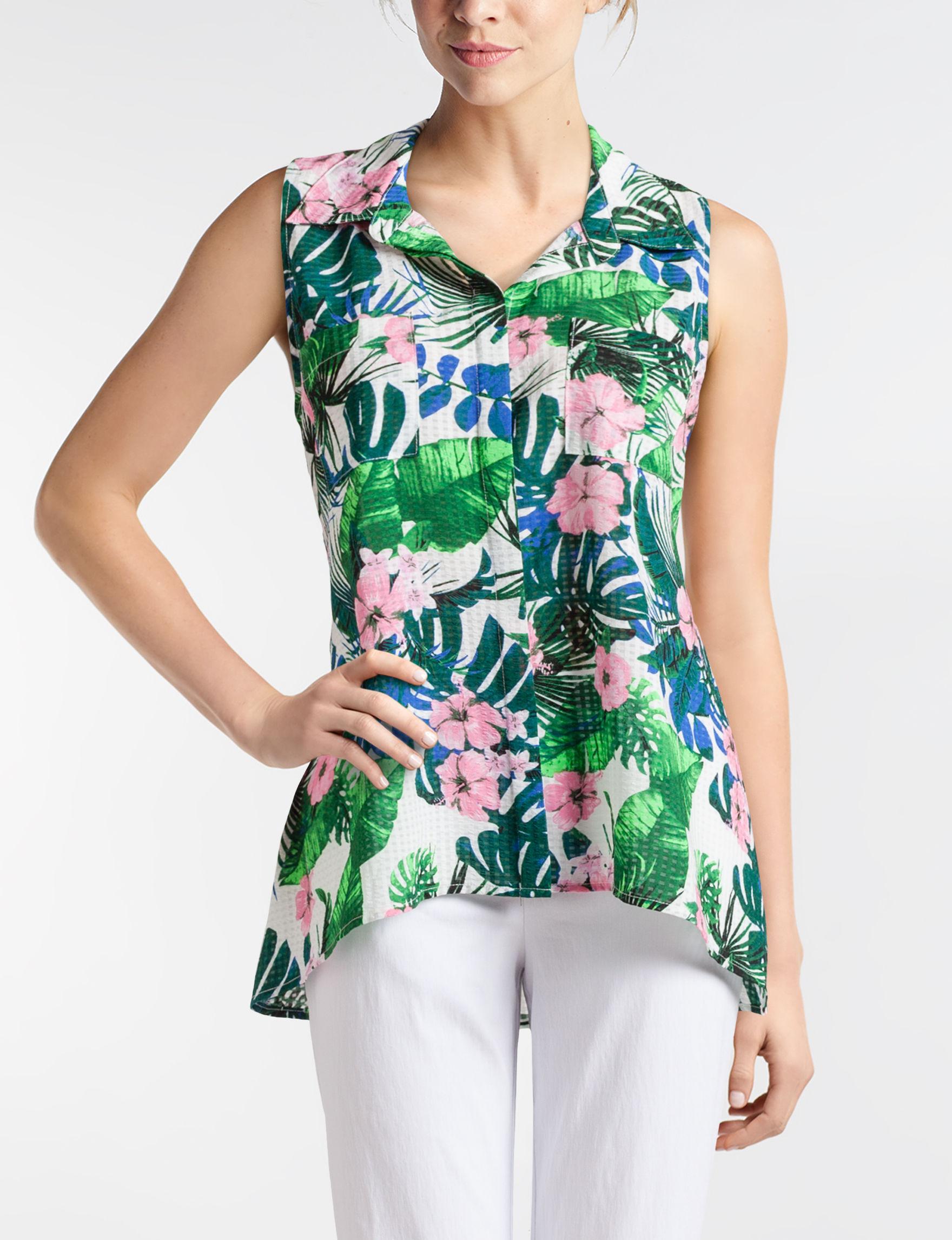 Rebecca Malone White Floral Shirts & Blouses