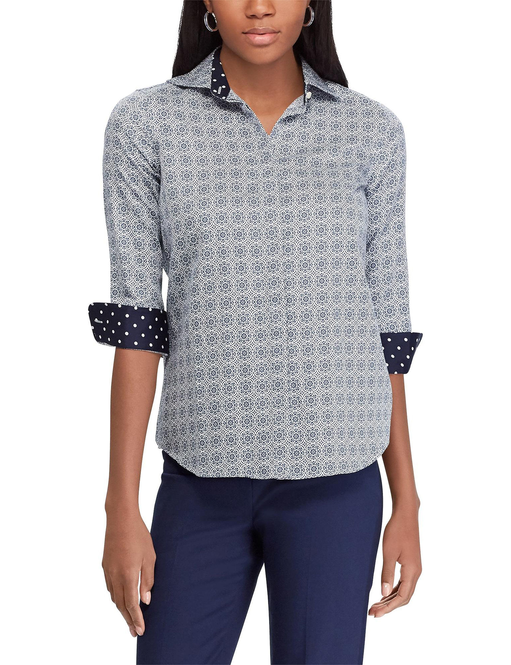 Chaps White / Navy Shirts & Blouses