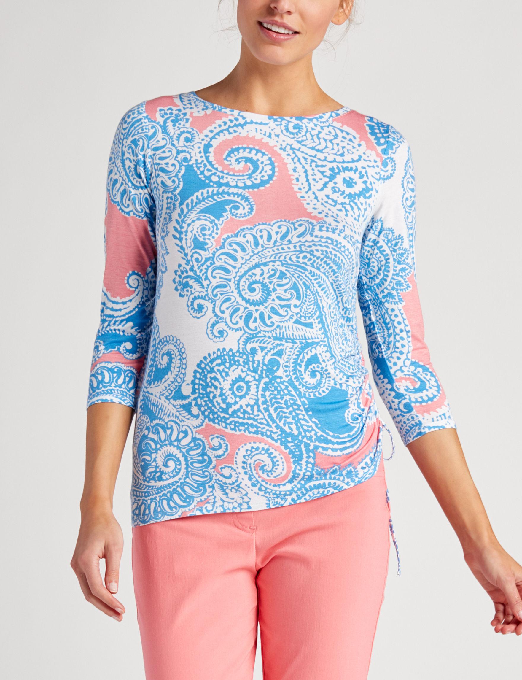 Ruby Road Blue Paisley Shirts & Blouses