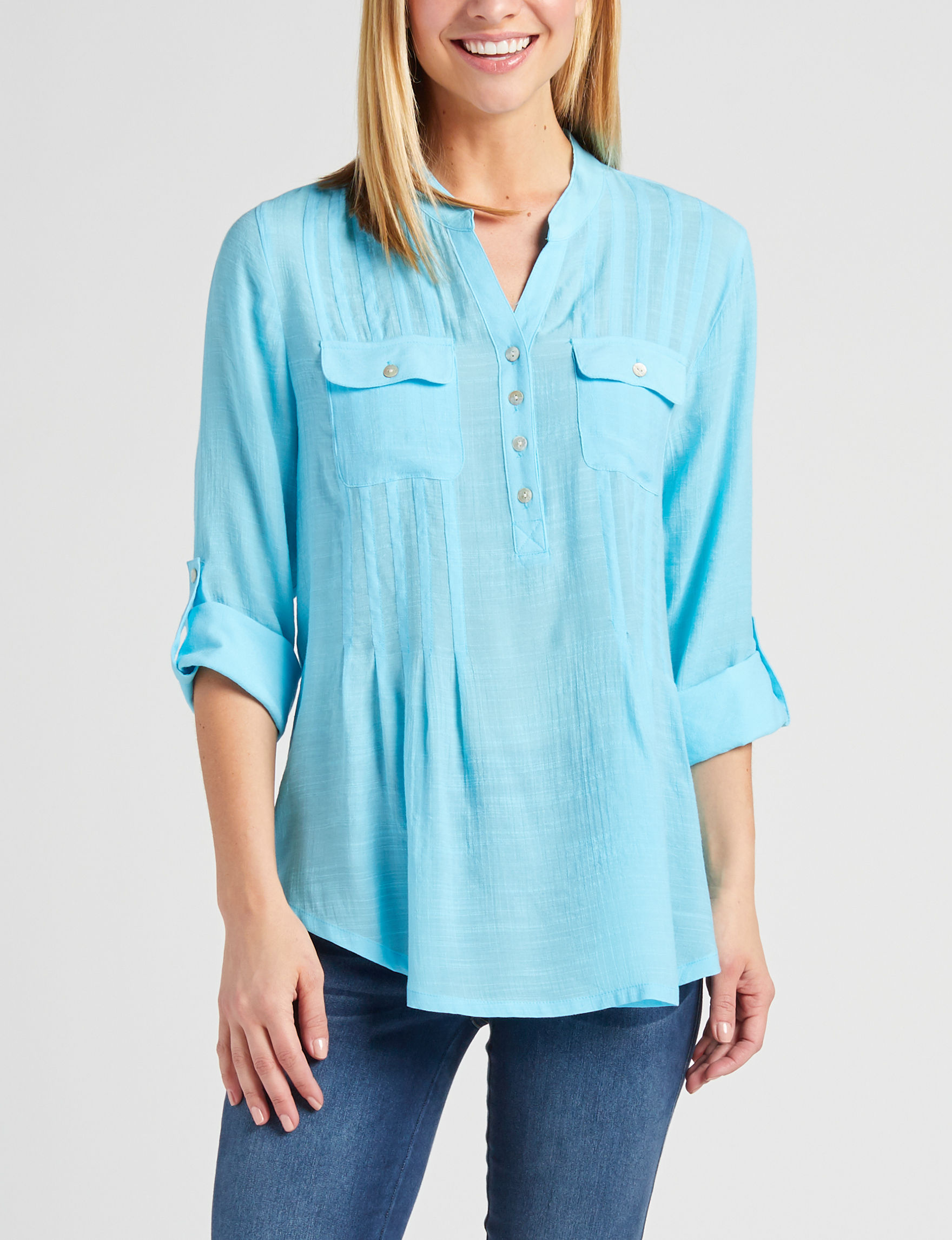 Ruby Road Blue Shirts & Blouses